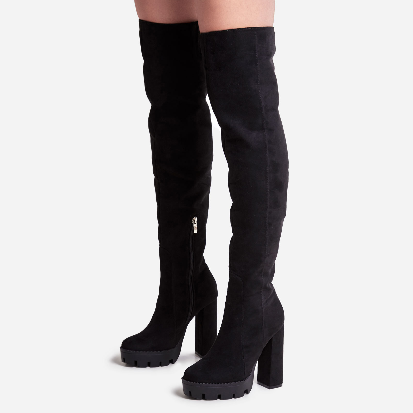 Chance Platform Thigh High Long Boot In Black Faux Suede