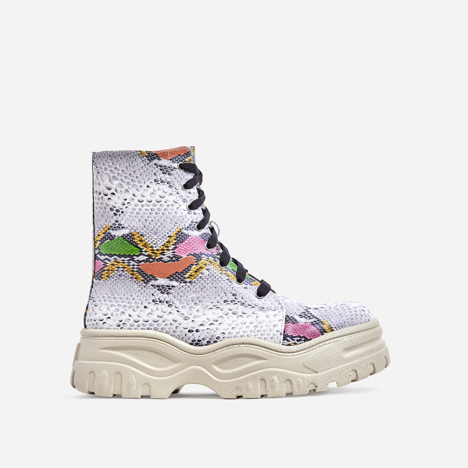 Teaser Chunky Sole Lace Up Ankle Biker Boot In Multi Colour Snake Print Faux Leather