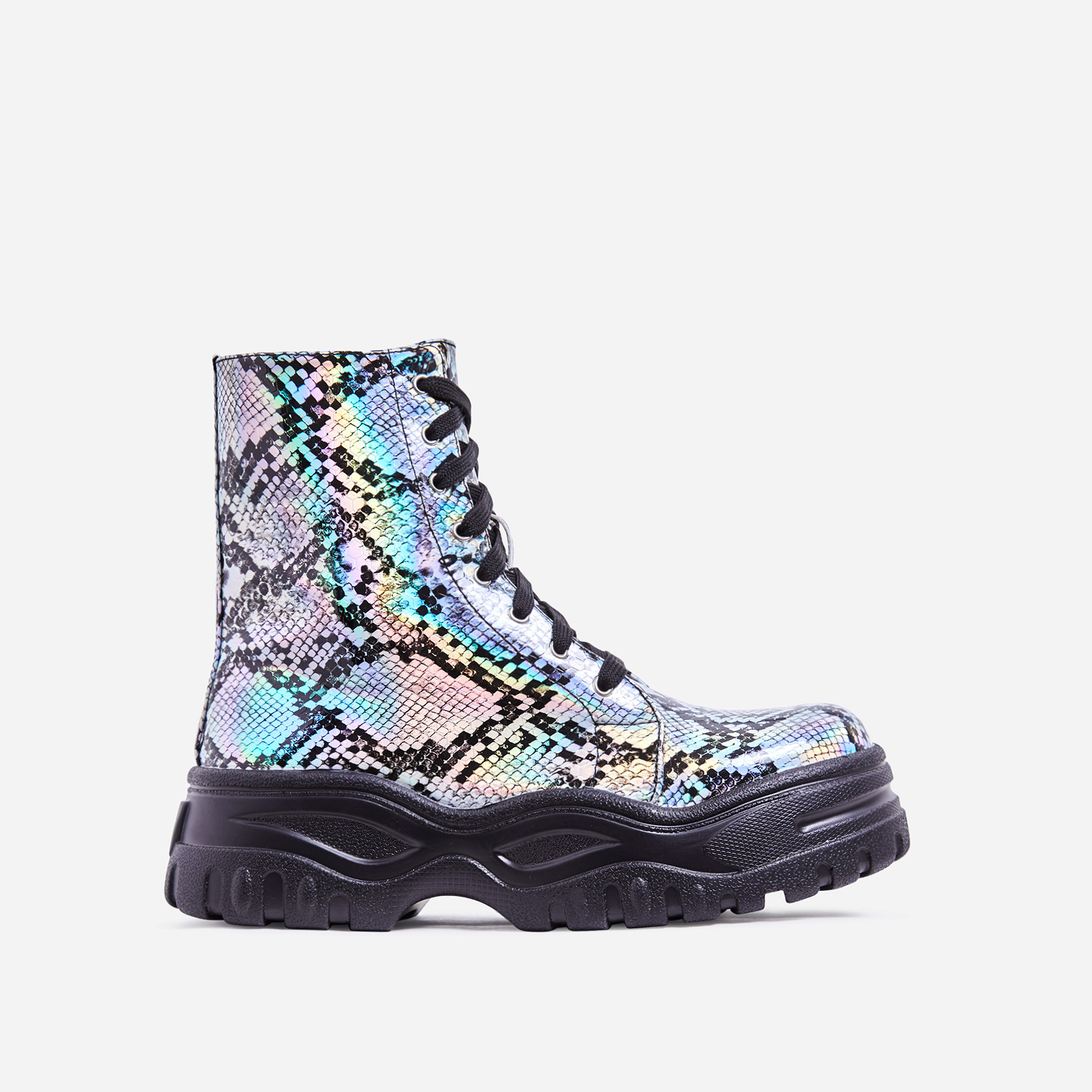 Teaser Chunky Sole Lace Up Ankle Biker Boot In Silver Holographic Snake Print Faux Leather
