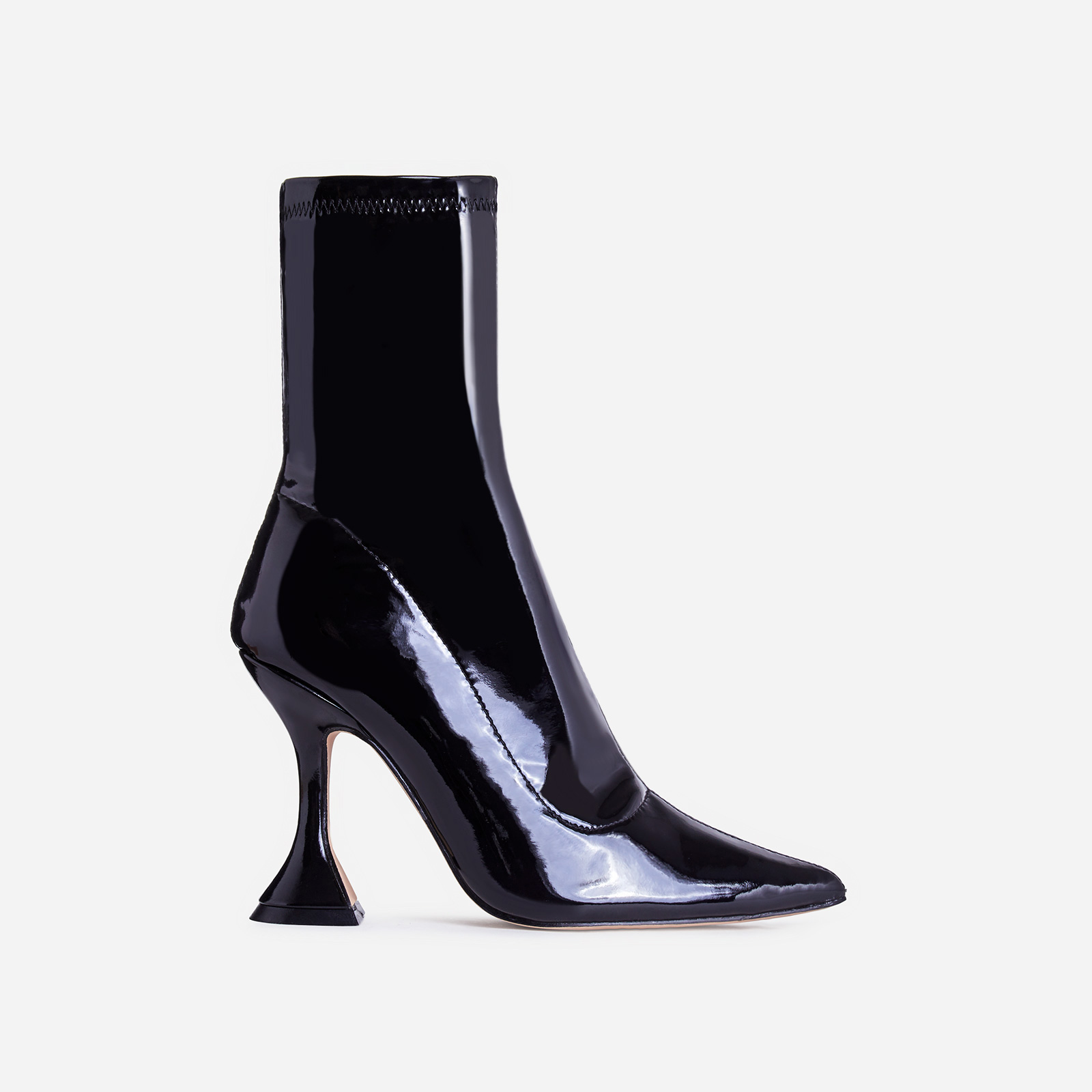 Flore Pyramid Heel Ankle Boot In Black Patent