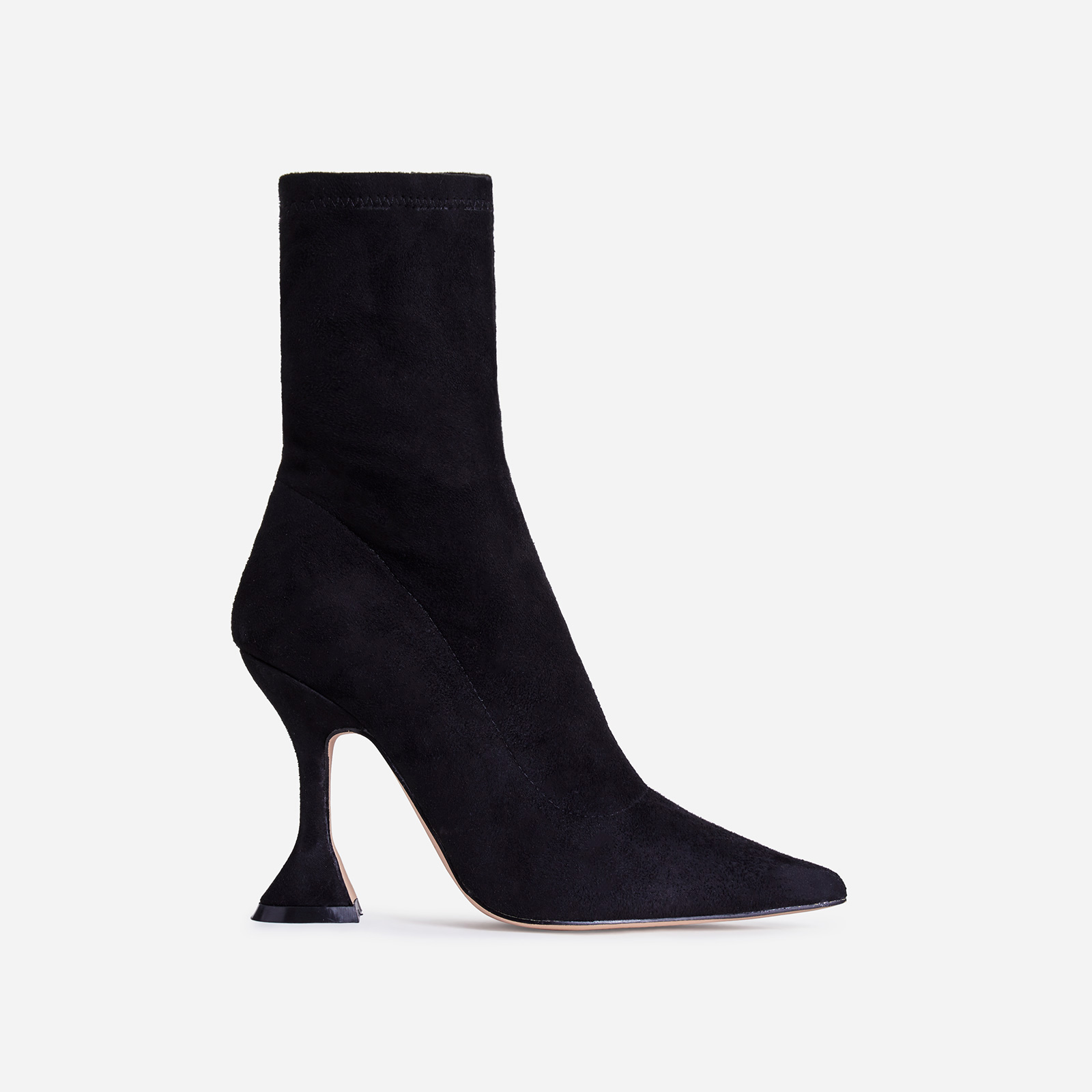 Flore Pyramid Heel Ankle Boot In Black Faux Suede