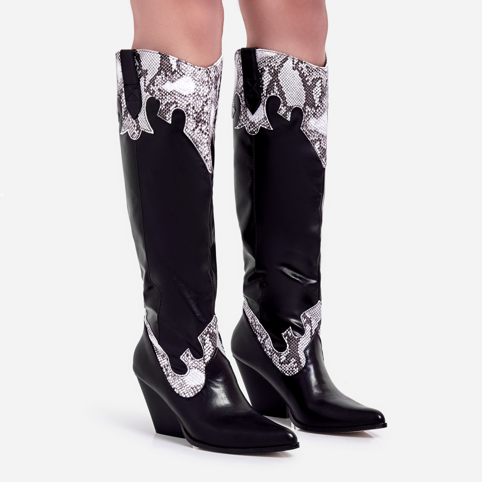 Callie Snake Print Detail Knee High Western Long Boot In Black Faux Leather