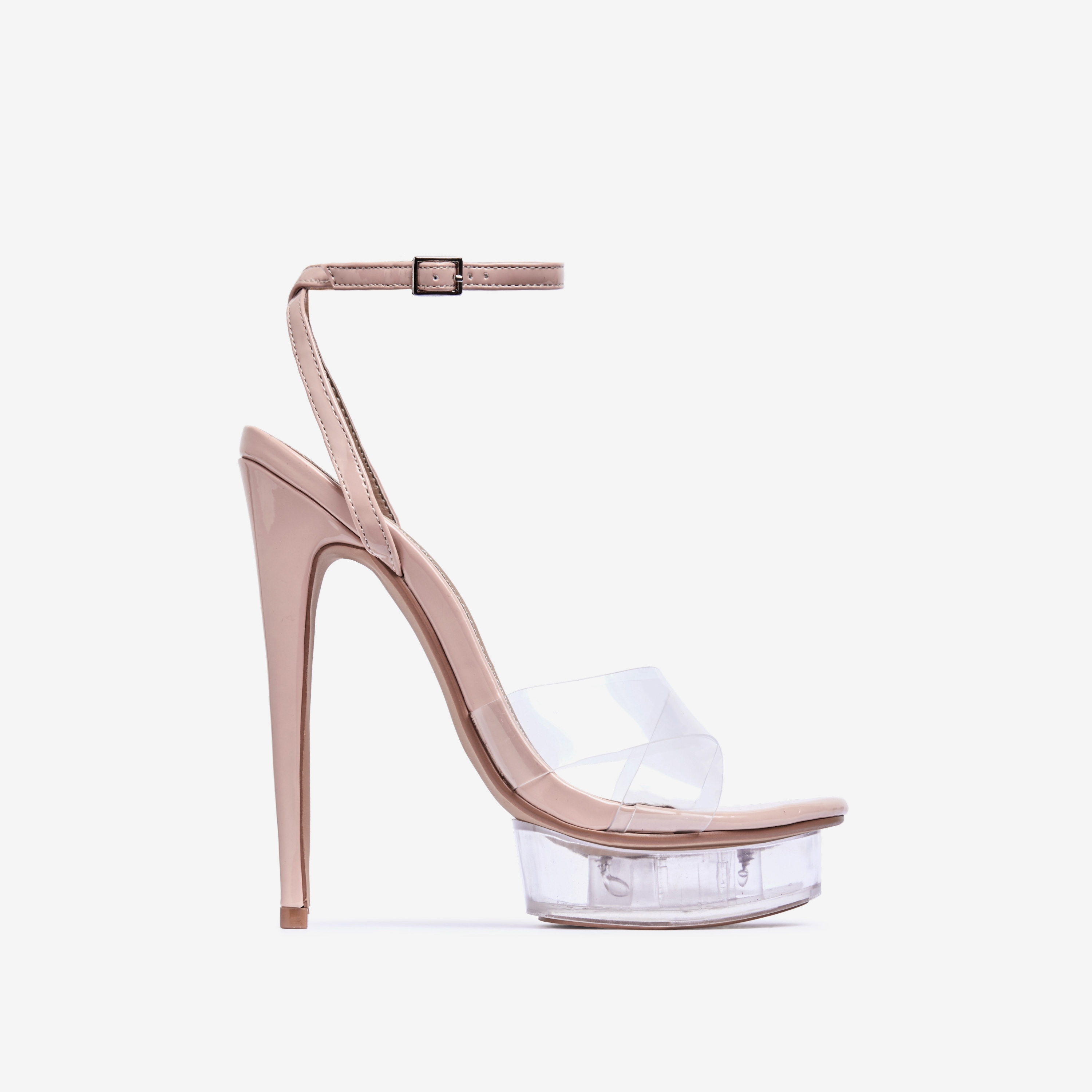 Smoking Barely There Perspex Platform Heel In Nude Patent