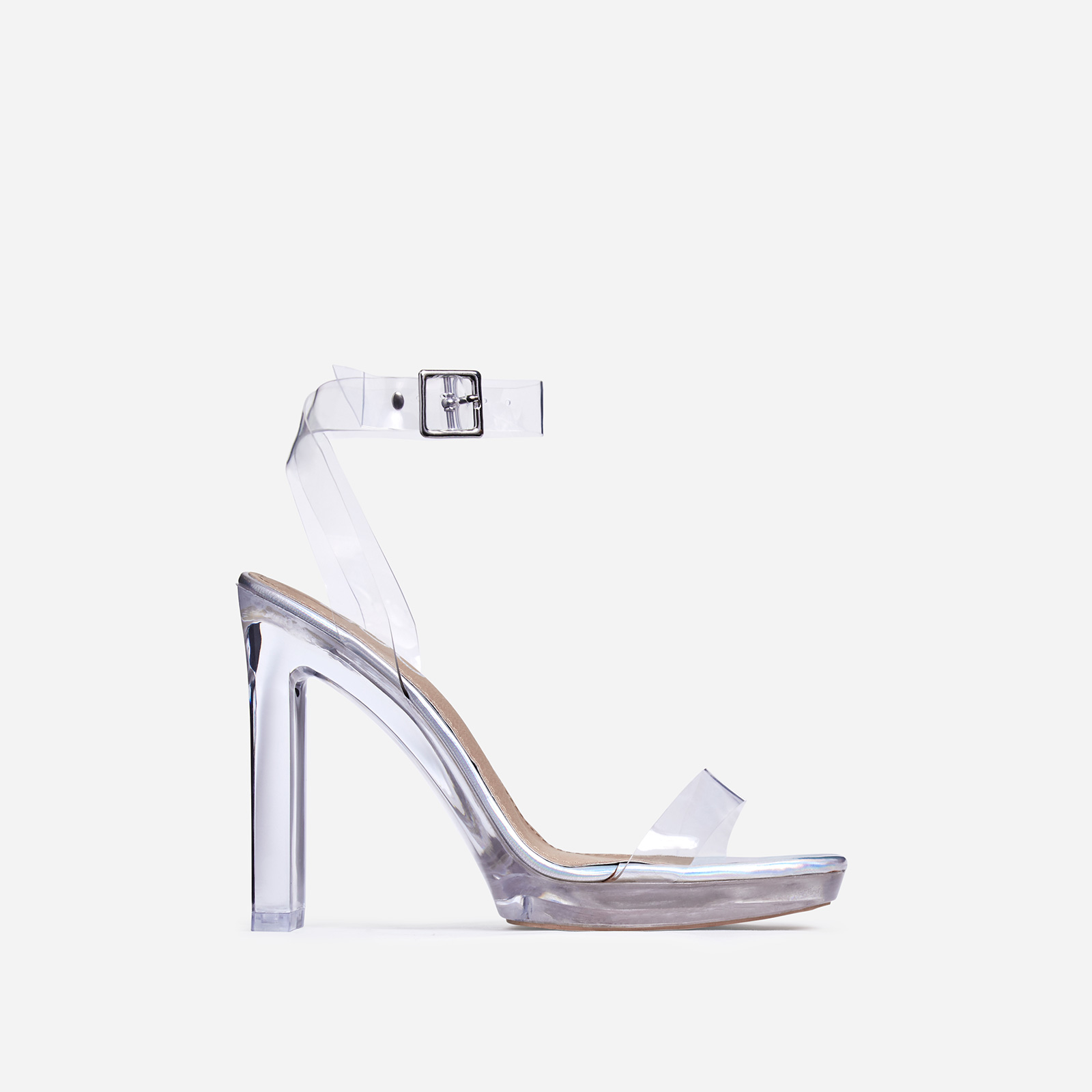 Icy Perspex Platform Barely There Thin Block Heel In Silver Holographic Faux Leather