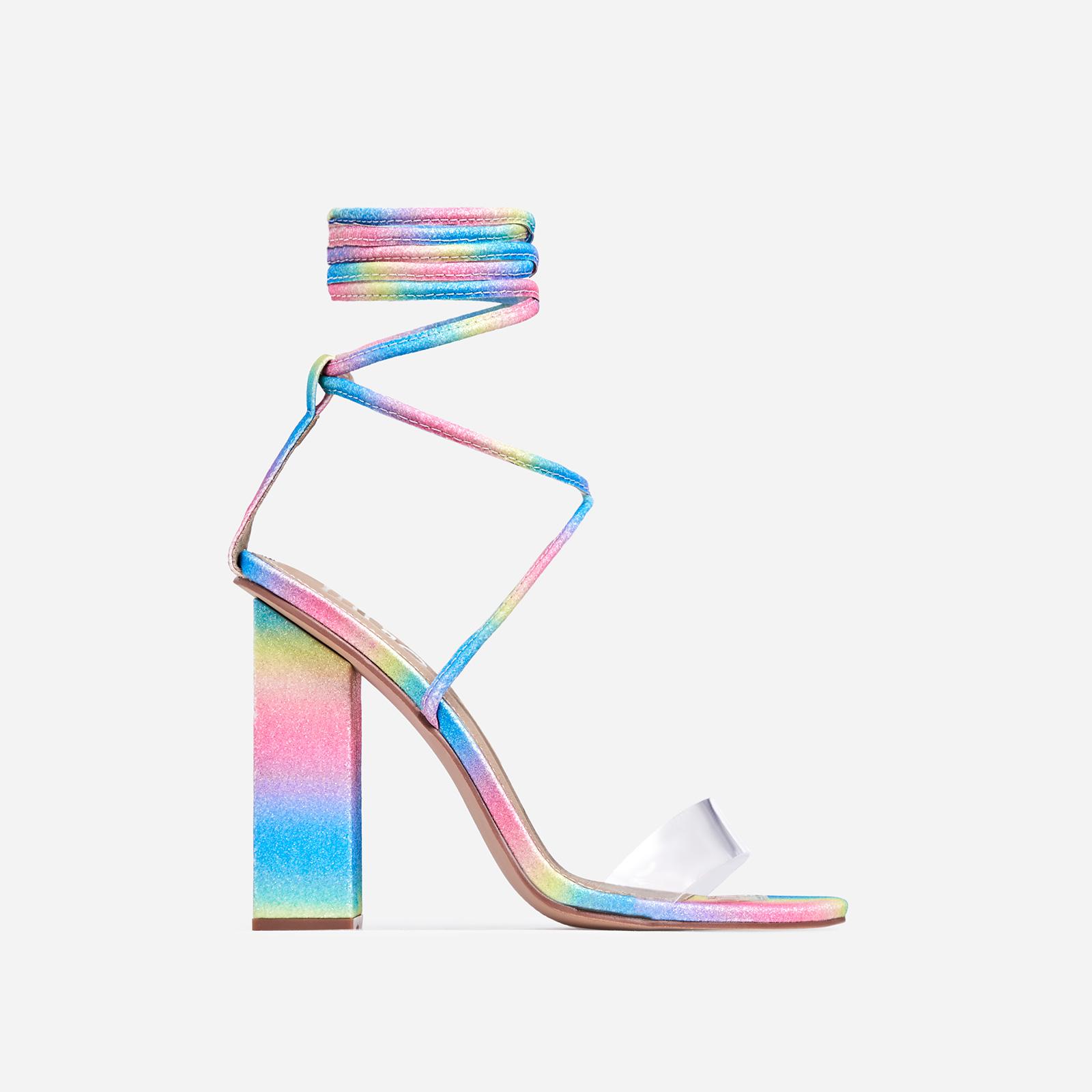 Bello Perspex Lace Up Block Heel In Rainbow Glitter