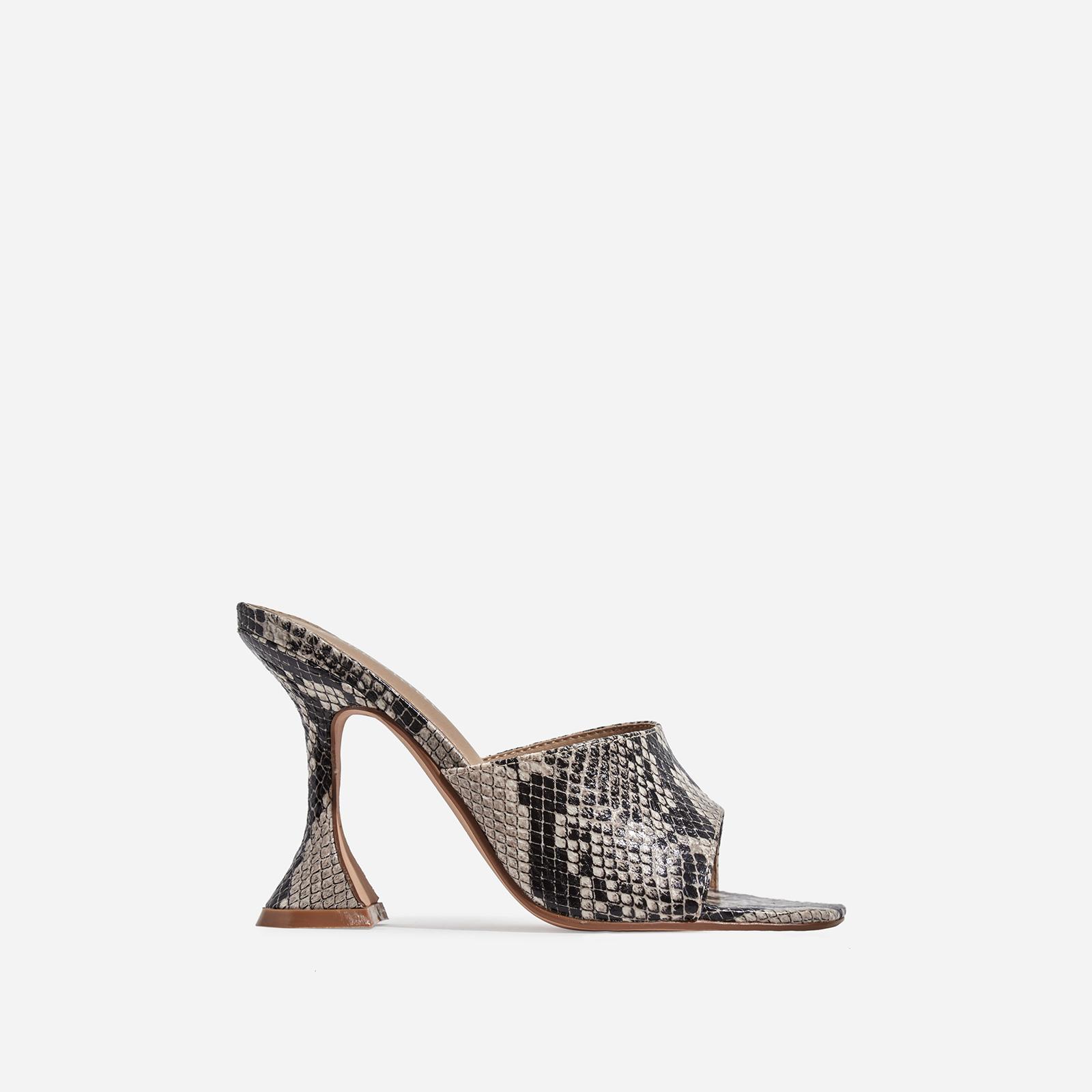 Jordi Peep Square Toe Heel Mule In Nude Snake Print Faux Leather