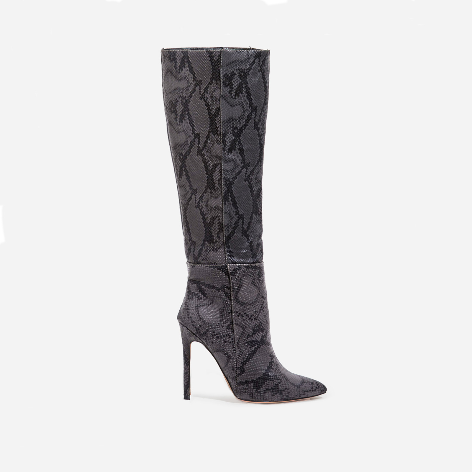 Rose Knee High Long Boot In Grey Snake Print Faux Leather