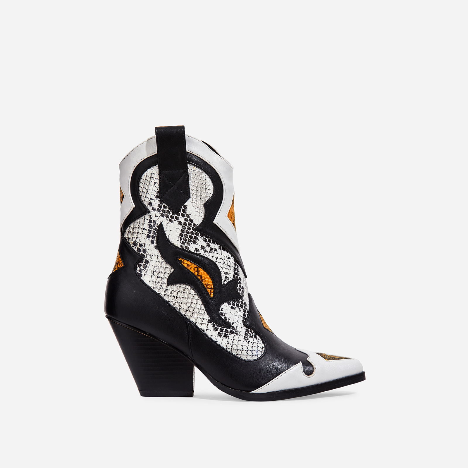 Mixer Grey Snake Print Detail Western Ankle Boot In Black Faux Leather