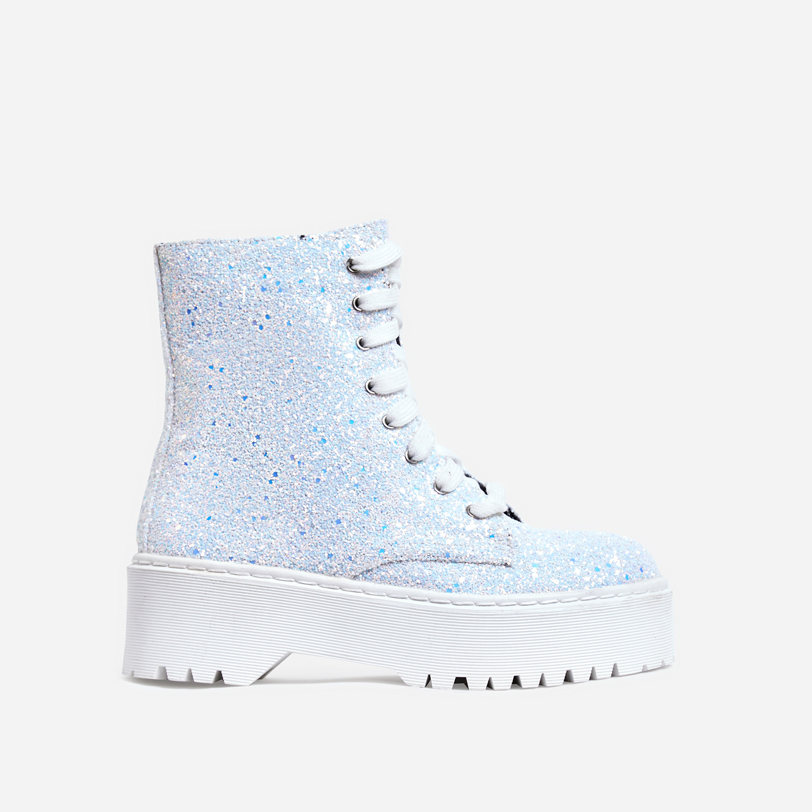 Poppin Lace Up Ankle Biker Boot In White Glitter