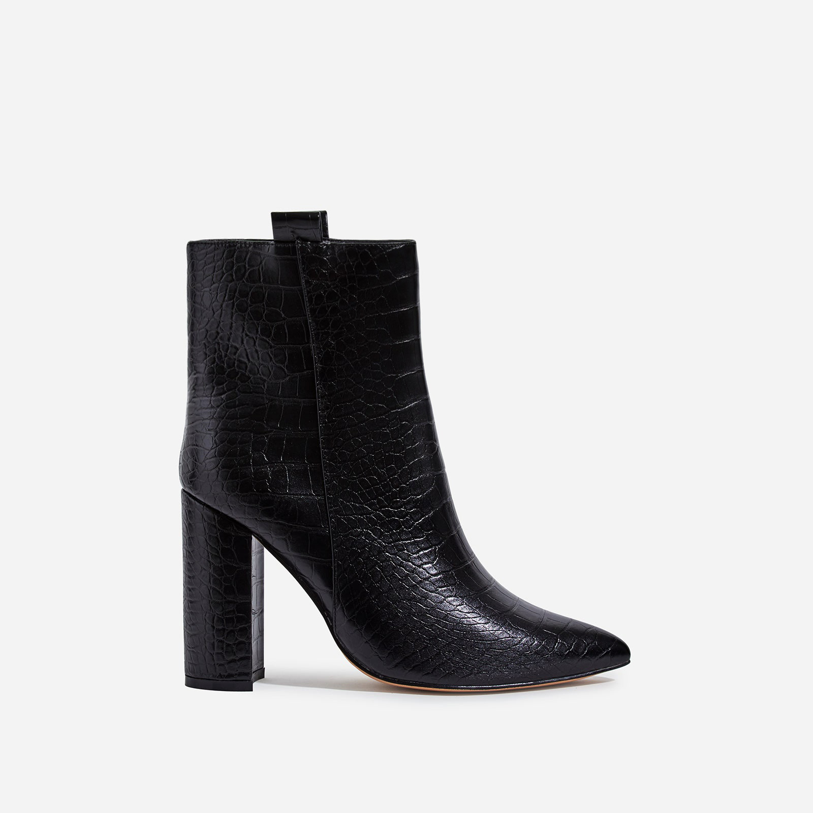 Monterey Block Heel Ankle Boot In Black Croc Print Faux Leather