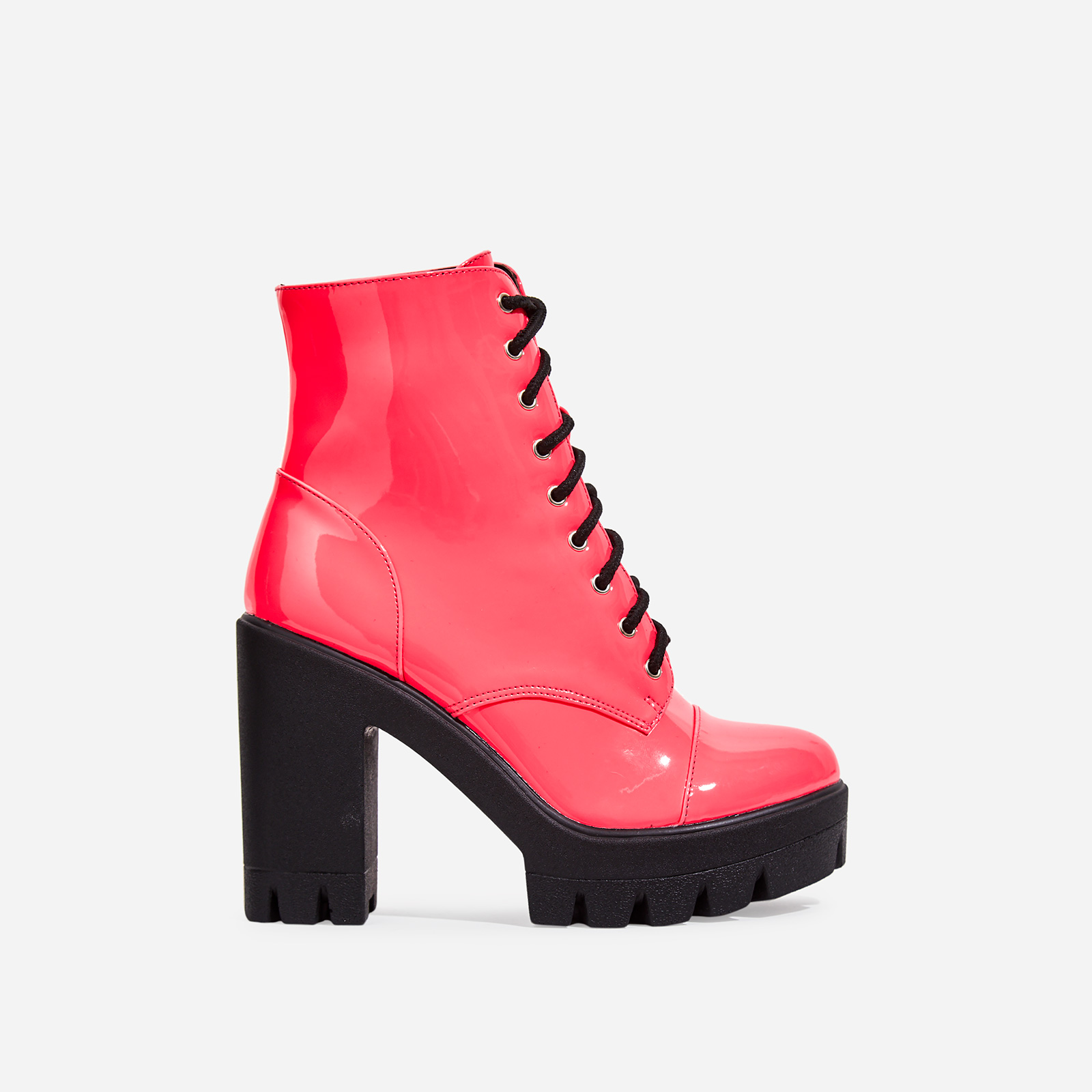 Lucky Lace Up Heeled Ankle Biker Boot In Pink Faux Leather