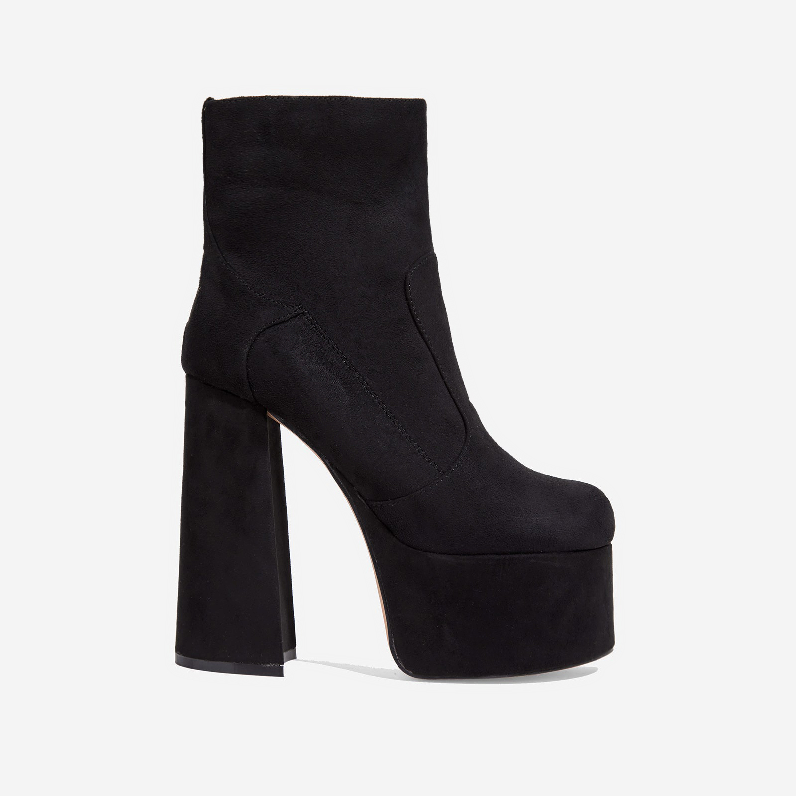 Steal Platform Block Heel Ankle Boot In Black Faux Suede