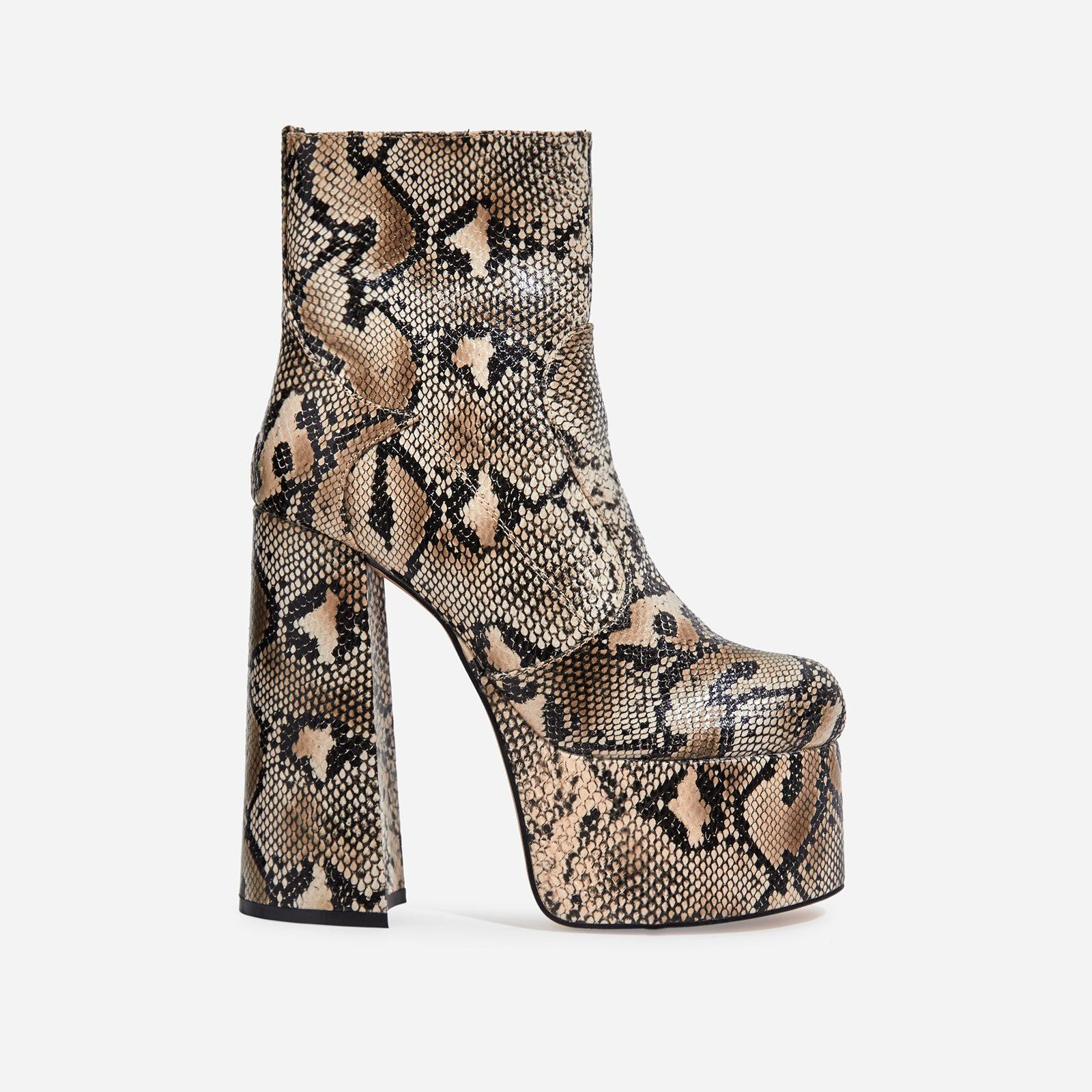Steal Platform Block Heel Ankle Boot In Nude Snake Print Faux Suede