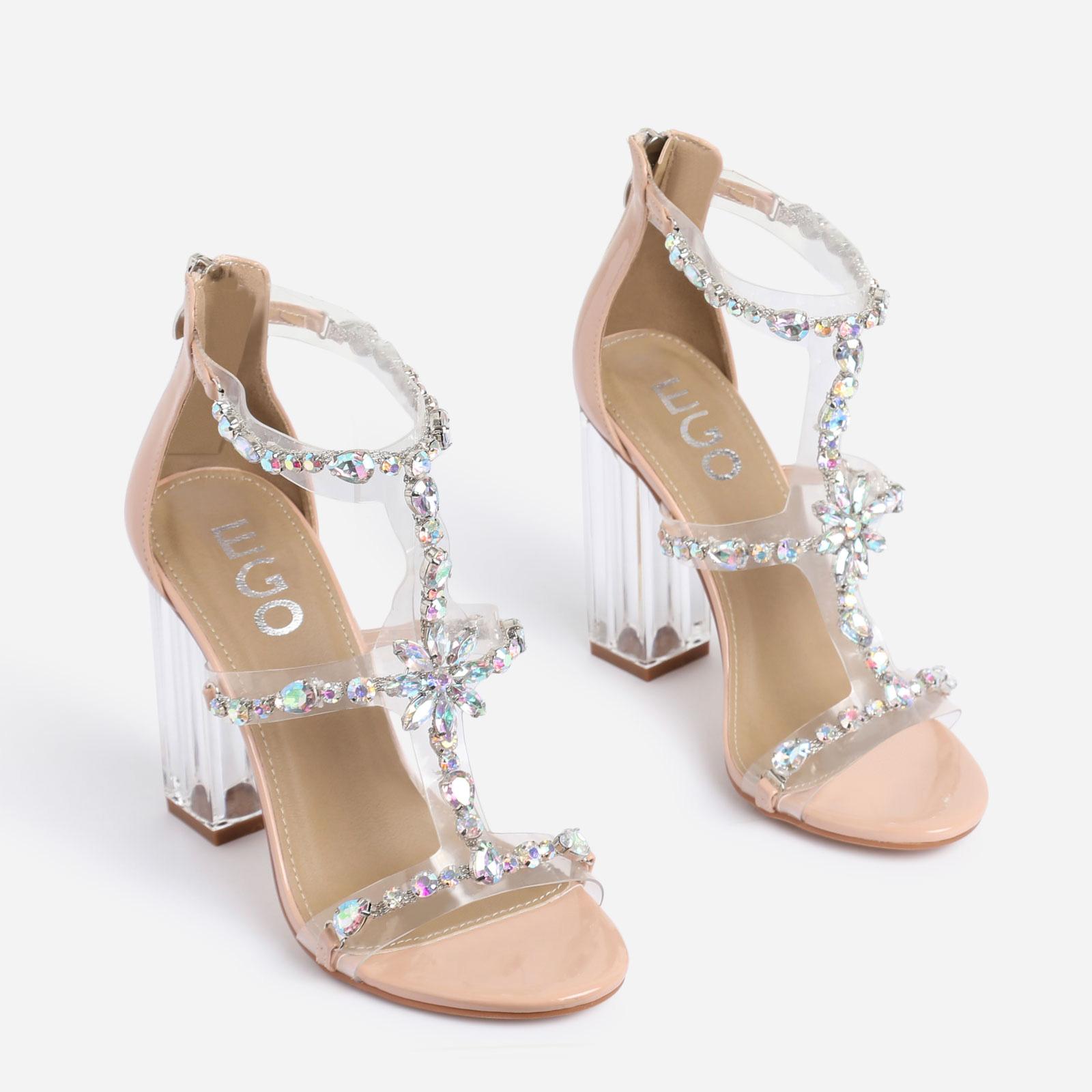 Merryme Jewel Embellished Perspex Block Heel In Nude Patent