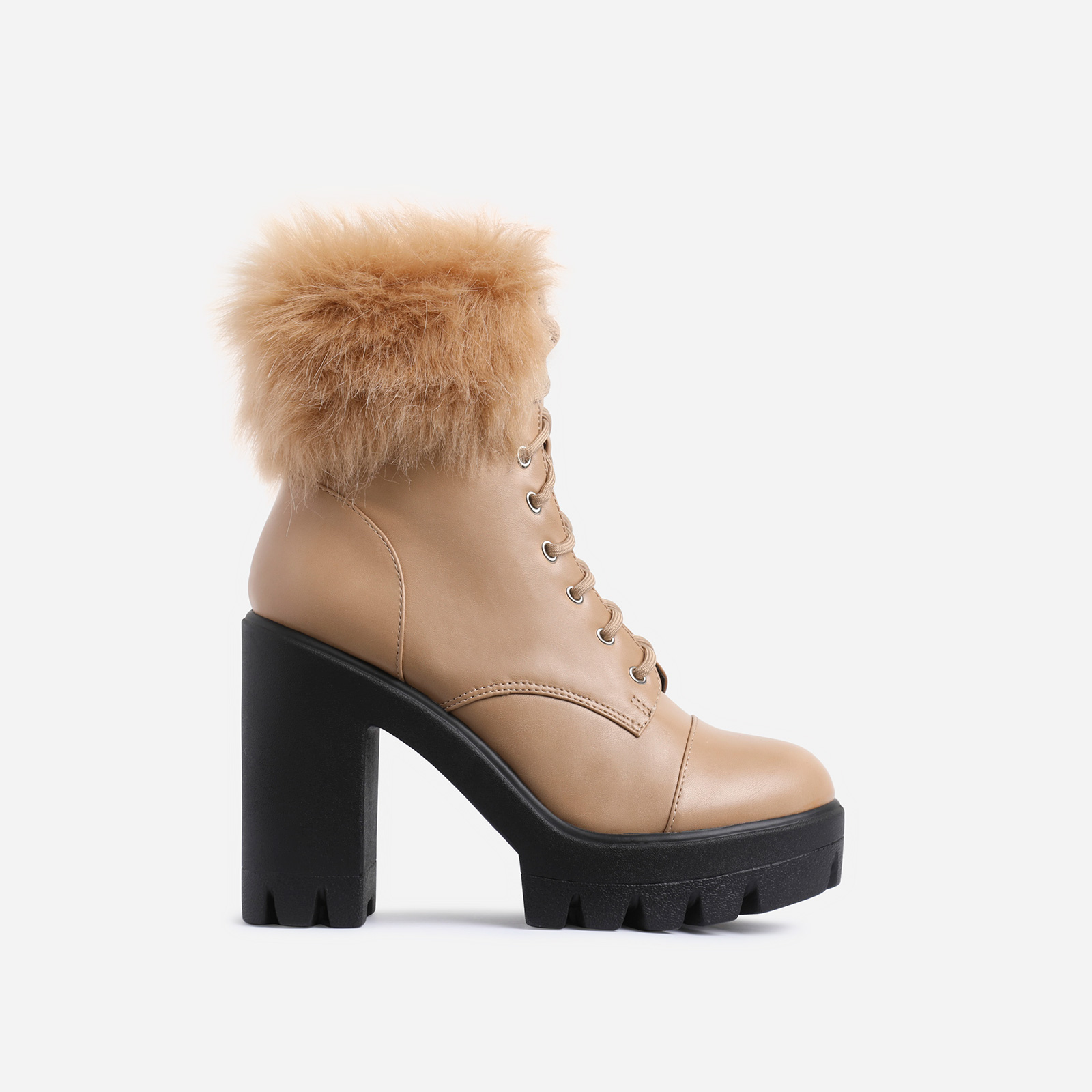 Toasty Faux Fur Lace Up Block Heel Ankle Biker Boot In Nude Faux Leather