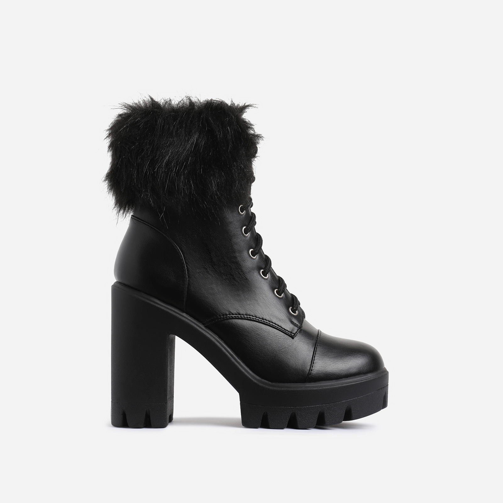 Toasty Faux Fur Lace Up Block Heel Ankle Biker Boot In Black Faux Leather
