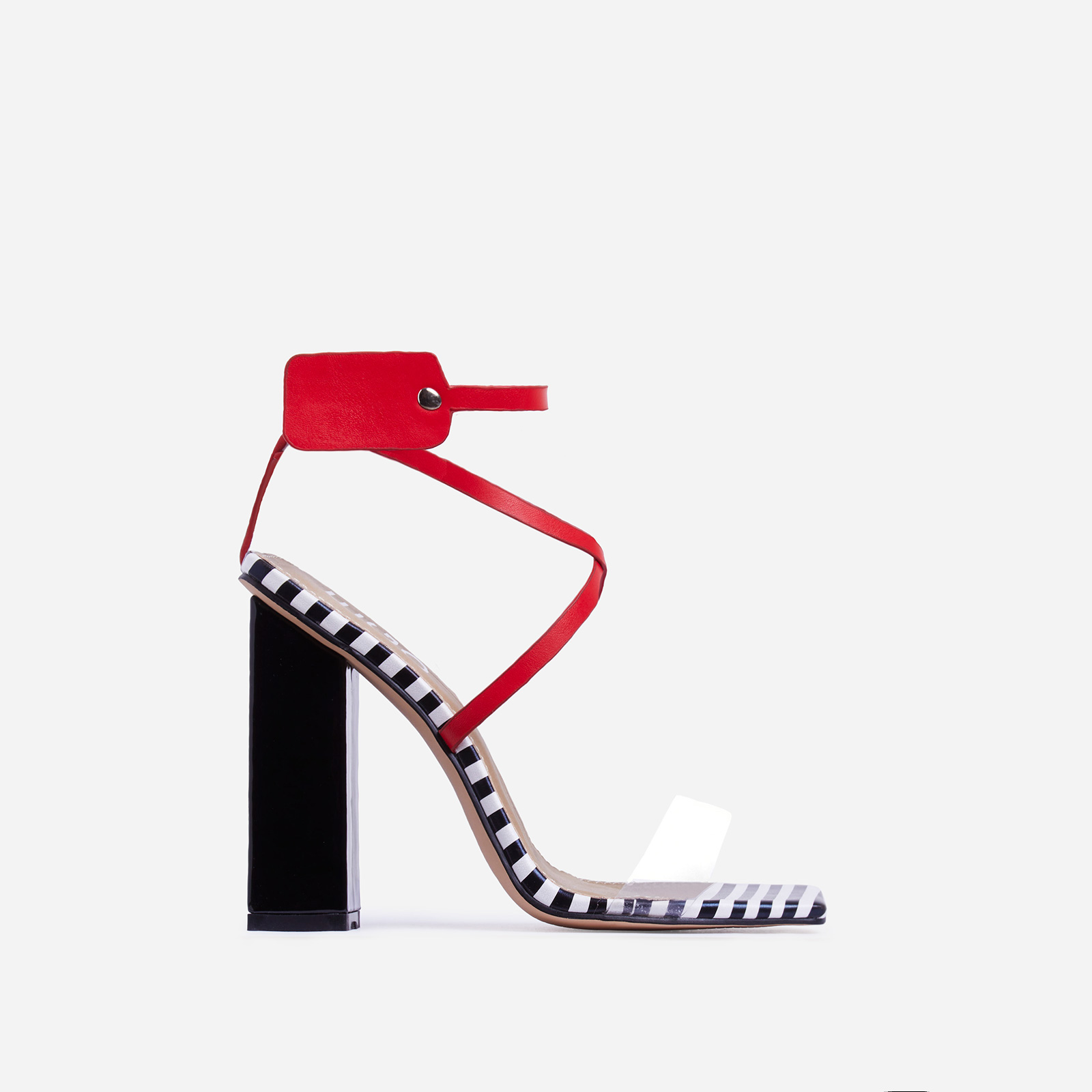 Cocktail Perspex Square Toe Block Heel In Black Stripe And Red Faux Leather