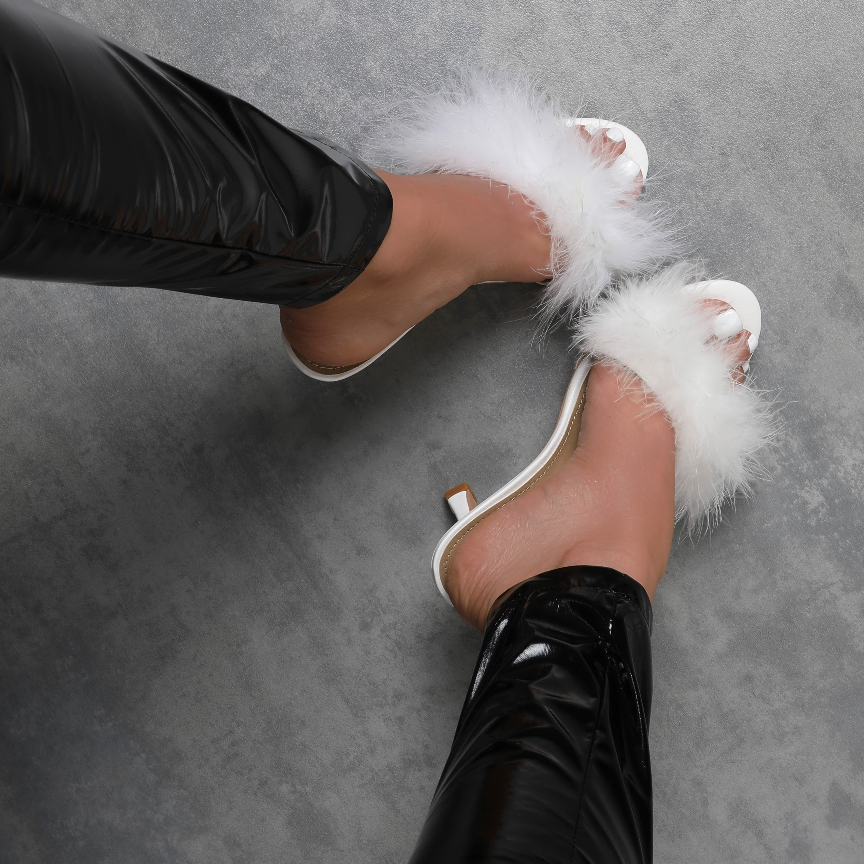 Fairydust Faux Feather Peep Toe Kitten Heel Mule In White Faux Leather