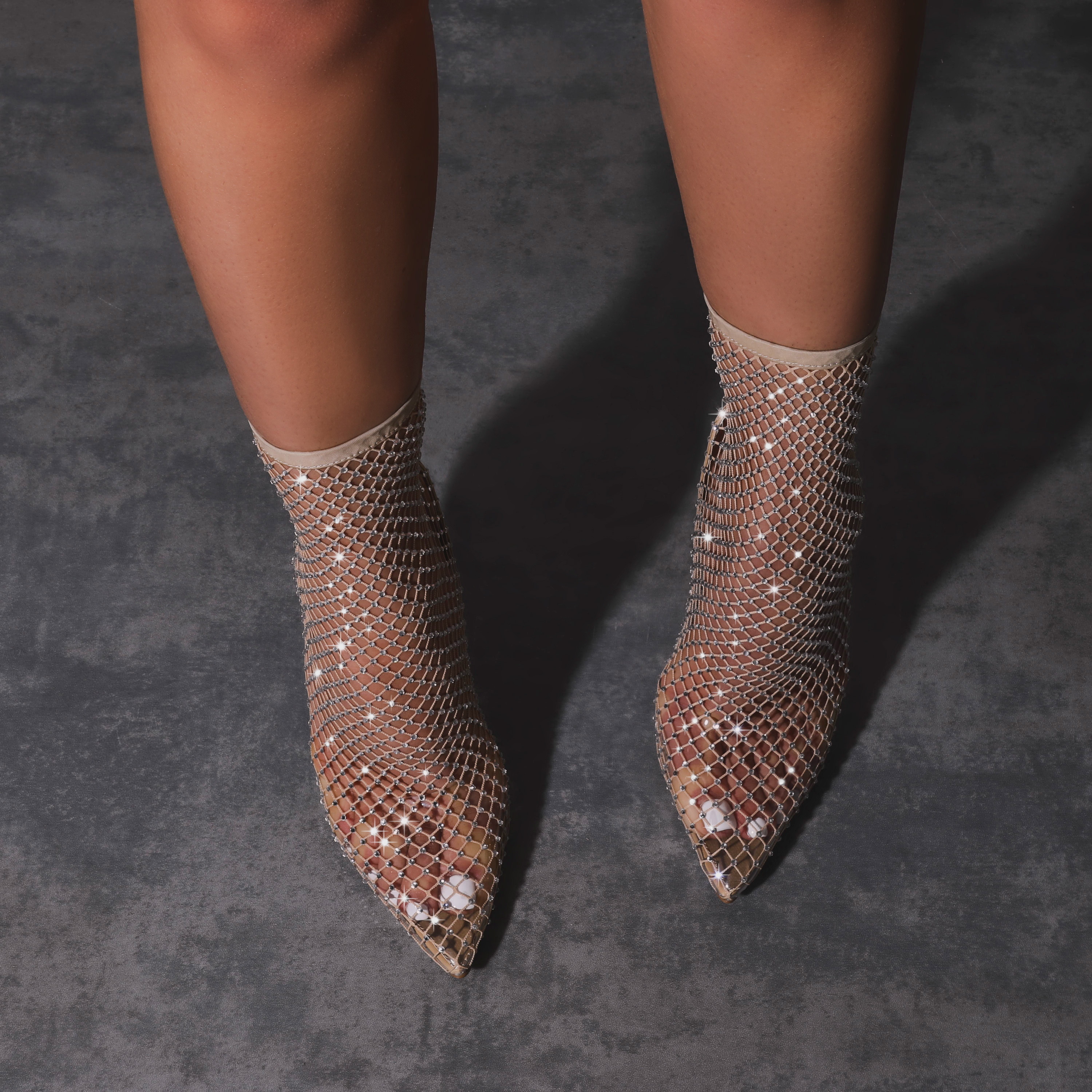Vakili Diamante Detail Fishnet Heel In Nude
