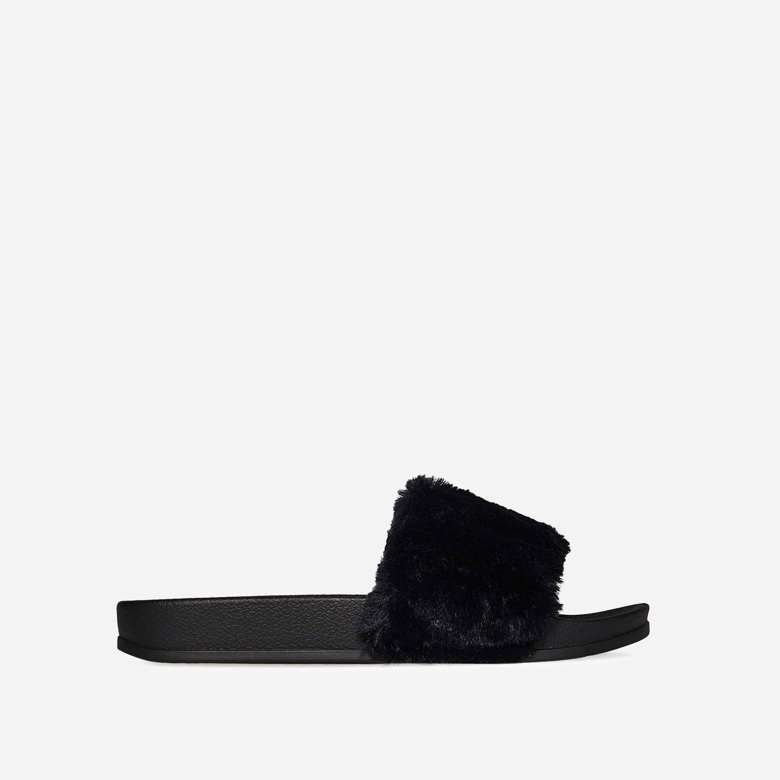Farrah Rubber Slider With Faux Fur Trim In Black Image 1