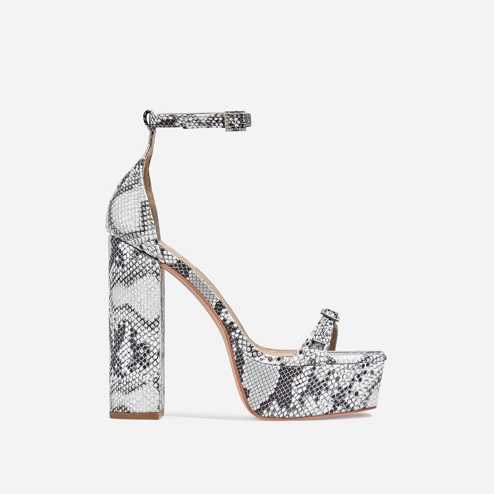 Milan Square Toe Barely There Platform Heel In Grey Snake Print Faux Leather