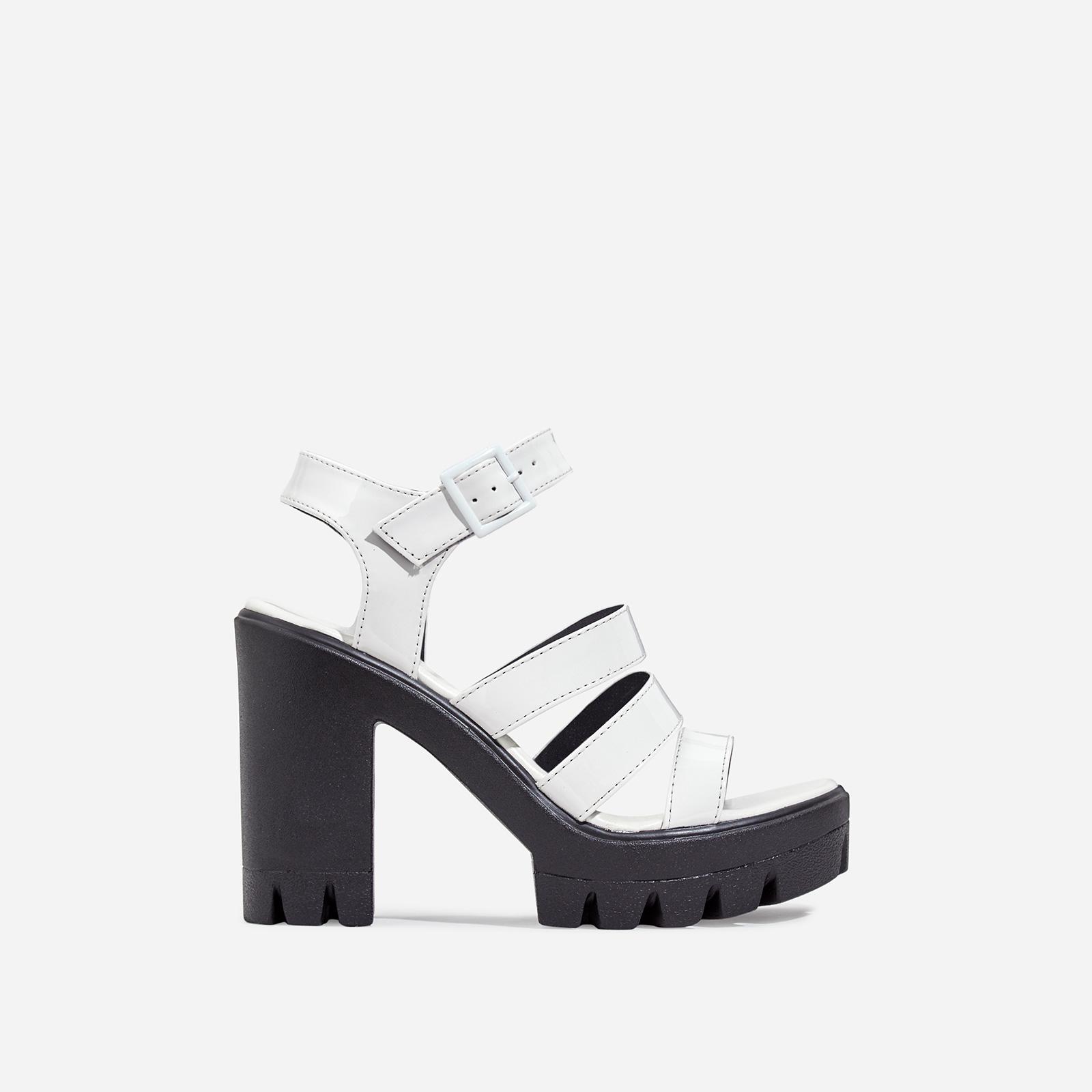 Phoebe Caged Platform Block Heel In White Patent