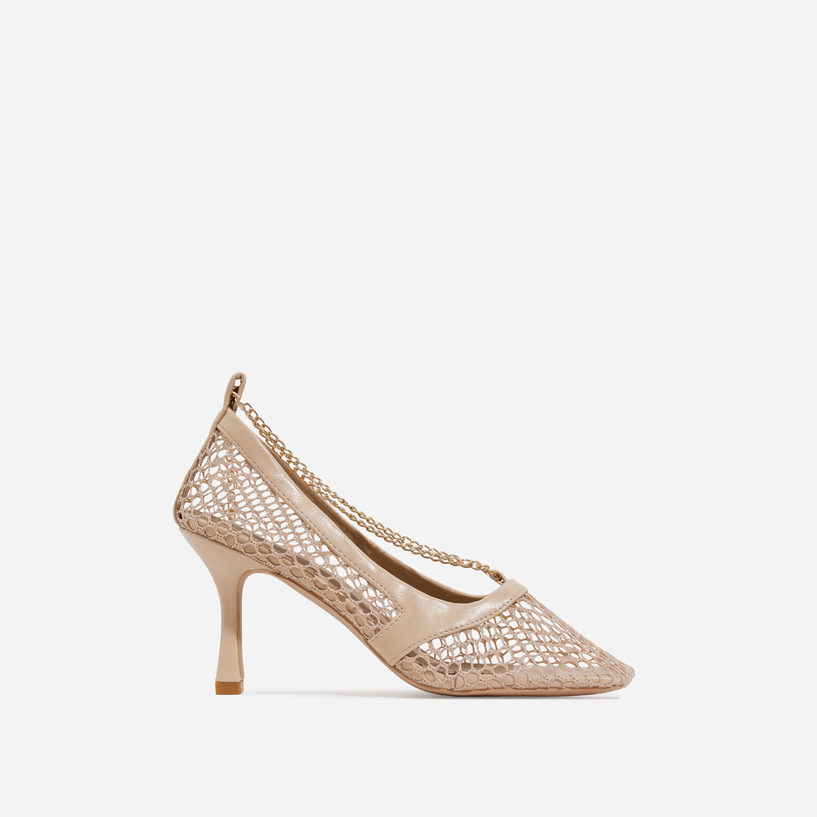 Montag Chain Detail Square Toe Fishnet Court Kitten Heel In Nude Faux Leather