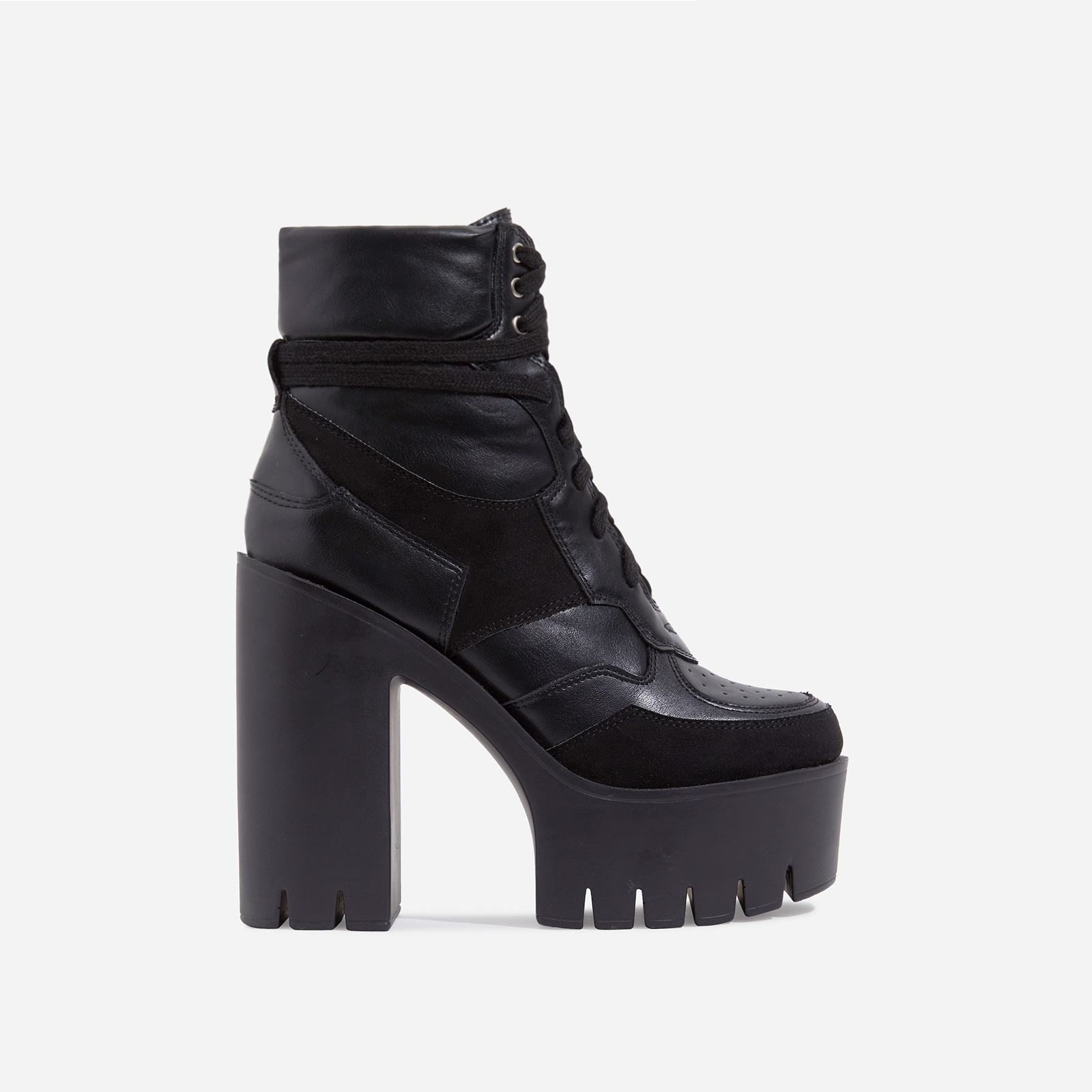 Penni Platform Lace Up Cleated Sole Ankle Bike Boot In Black Faux Leather