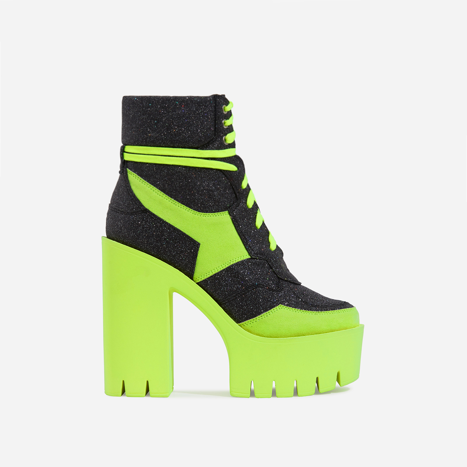 Penni Platform Lace Up Cleated Sole Ankle Bike Boot In Glitter And Lime Faux Suede