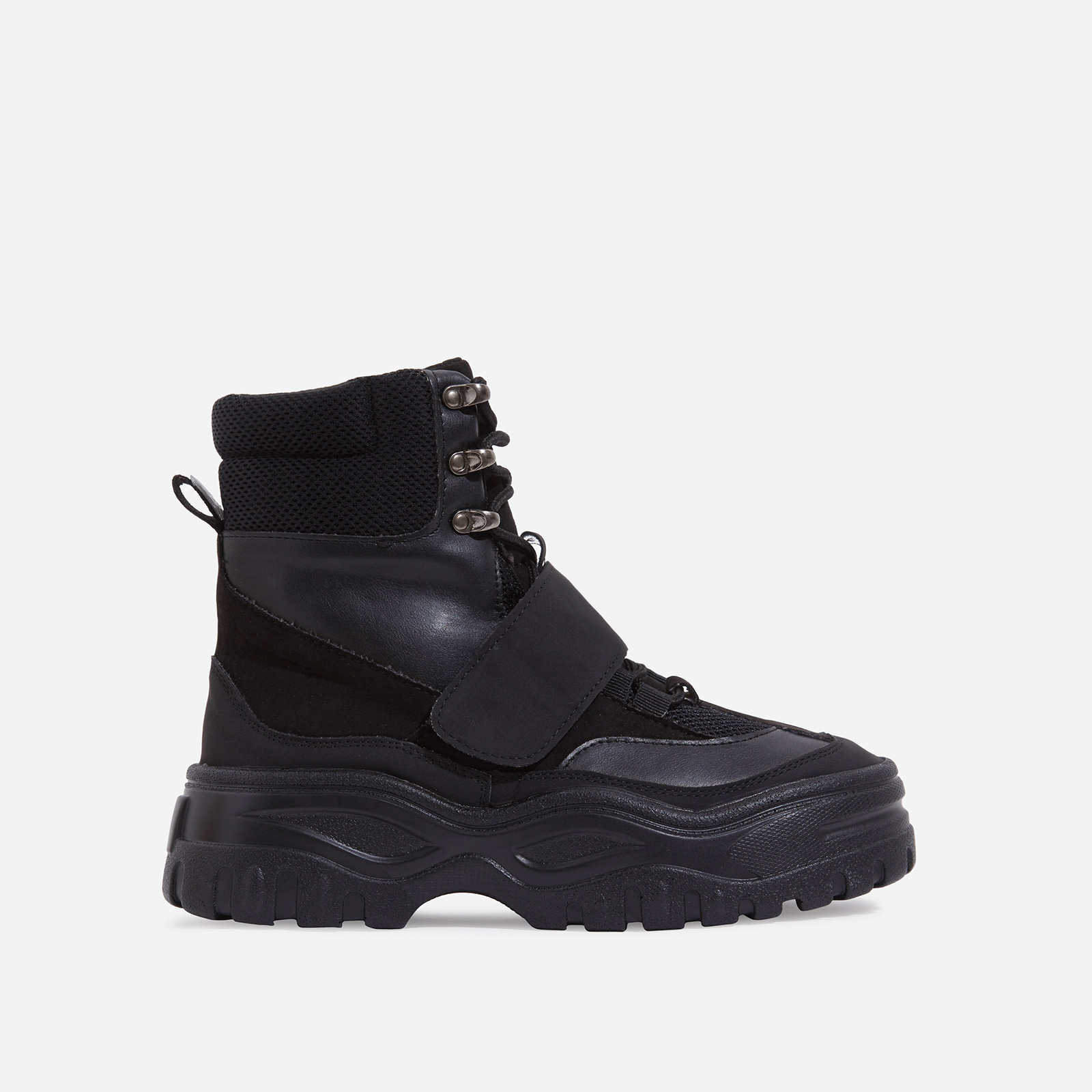 Rover Lace Up Ankle Hiker Boot In Black Faux Leather And Suede