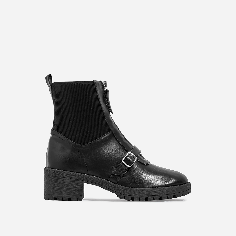 Porter Zip Detail Ankle Biker Boot In Black Faux Leather