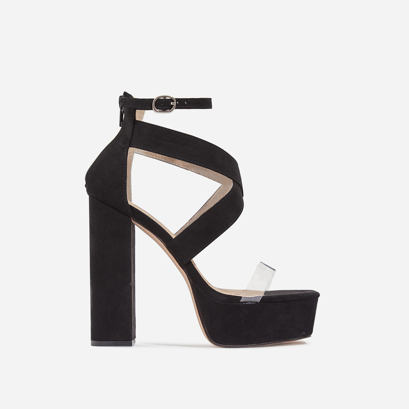 Nirvana Platform Square Toe Perspex Heel In Black Faux Suede