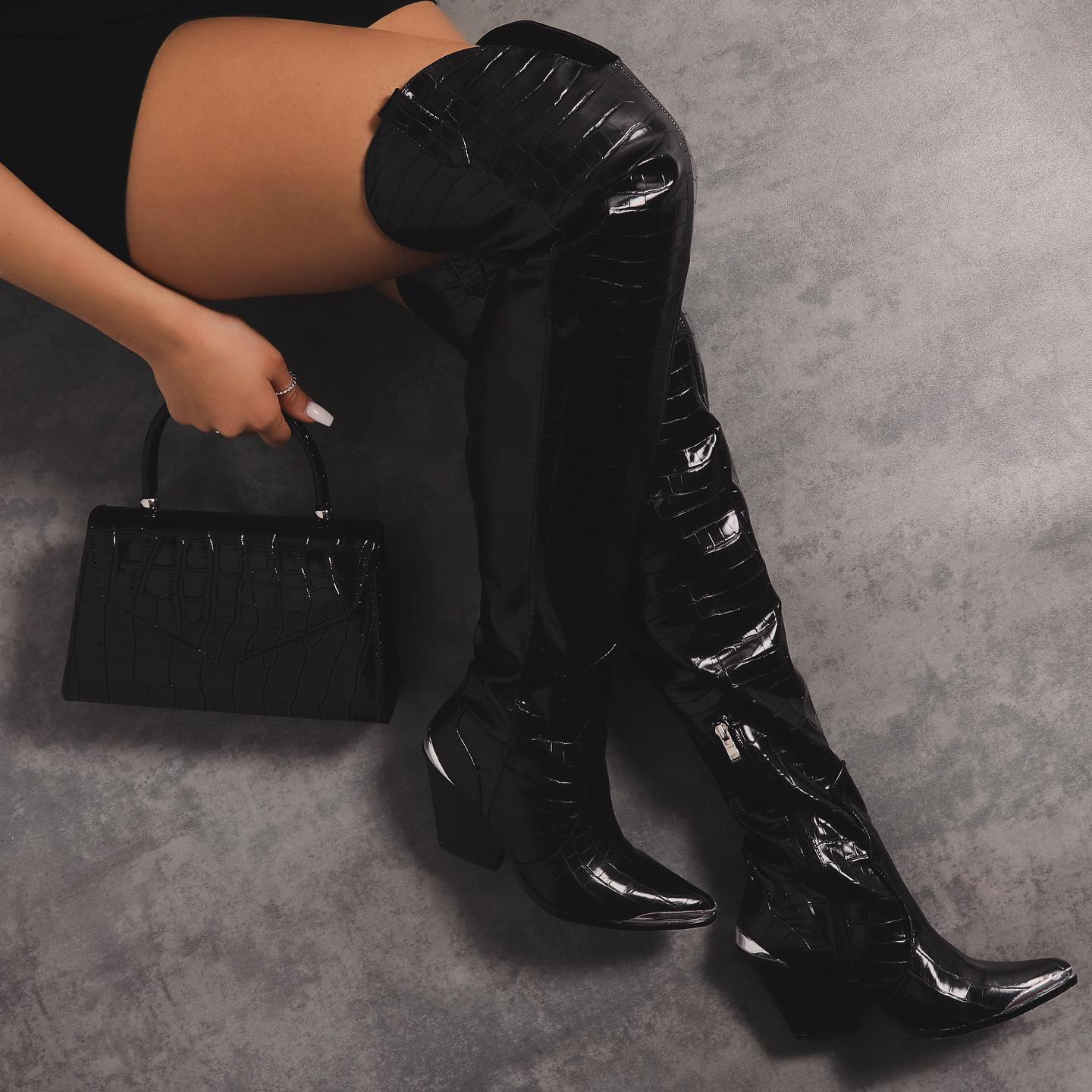 Pride Western Over The Knee Thigh High Long Boot In Black Croc Print Faux Leather