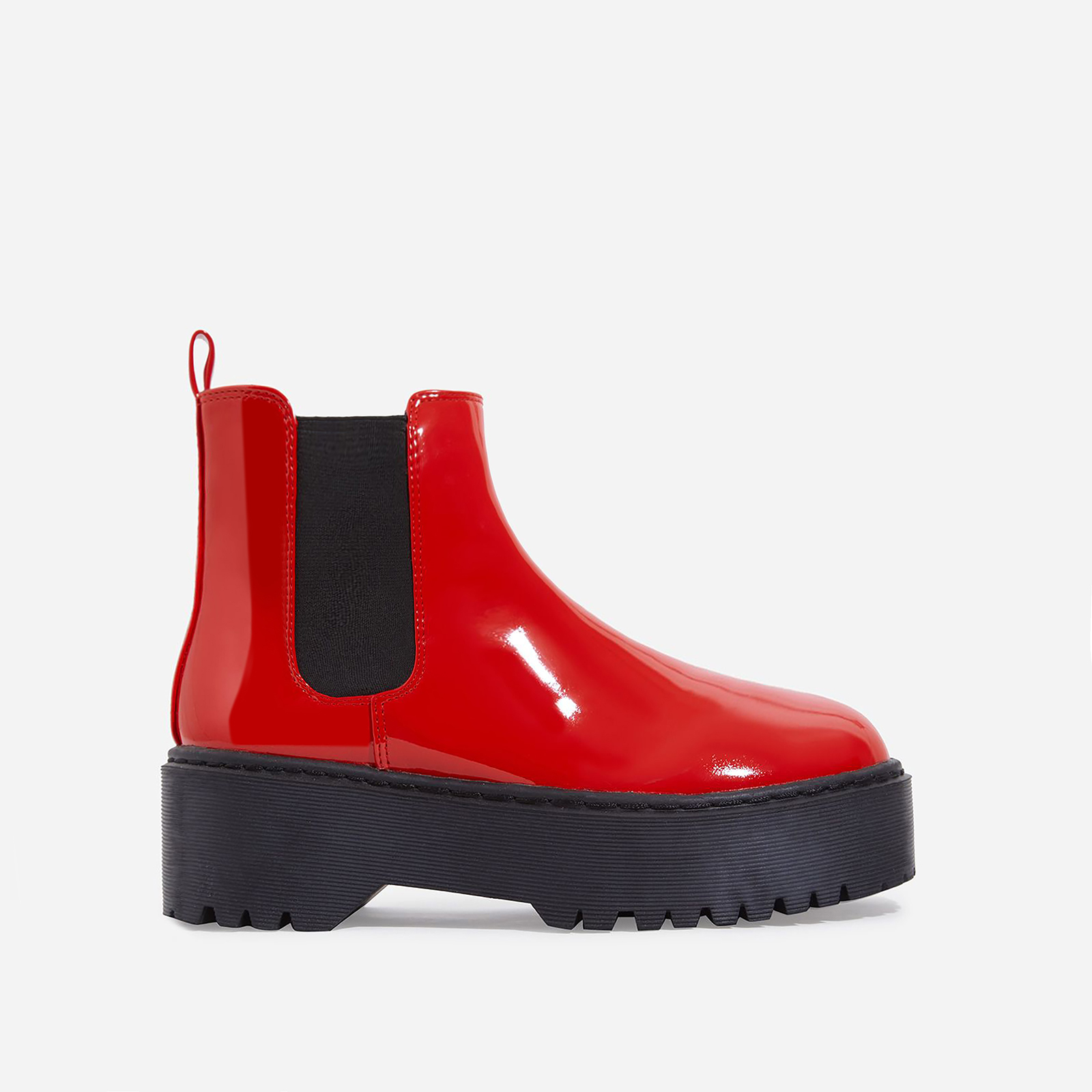 Tristan Chelsea Ankle Biker Boot In Red Patent