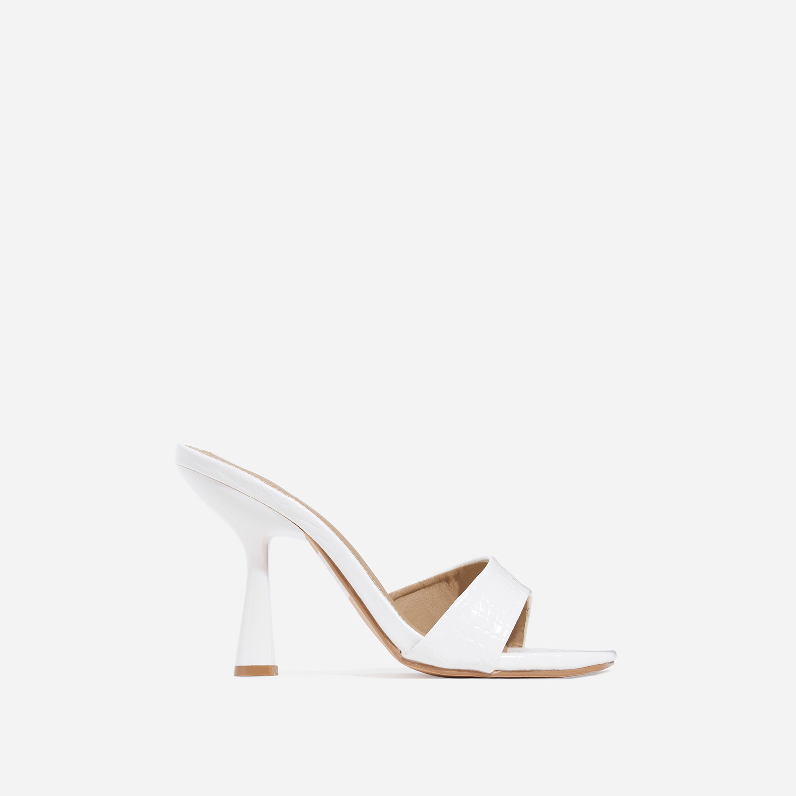 Found Square Peep Toe Heel Mule In White Snake Print Faux Leather