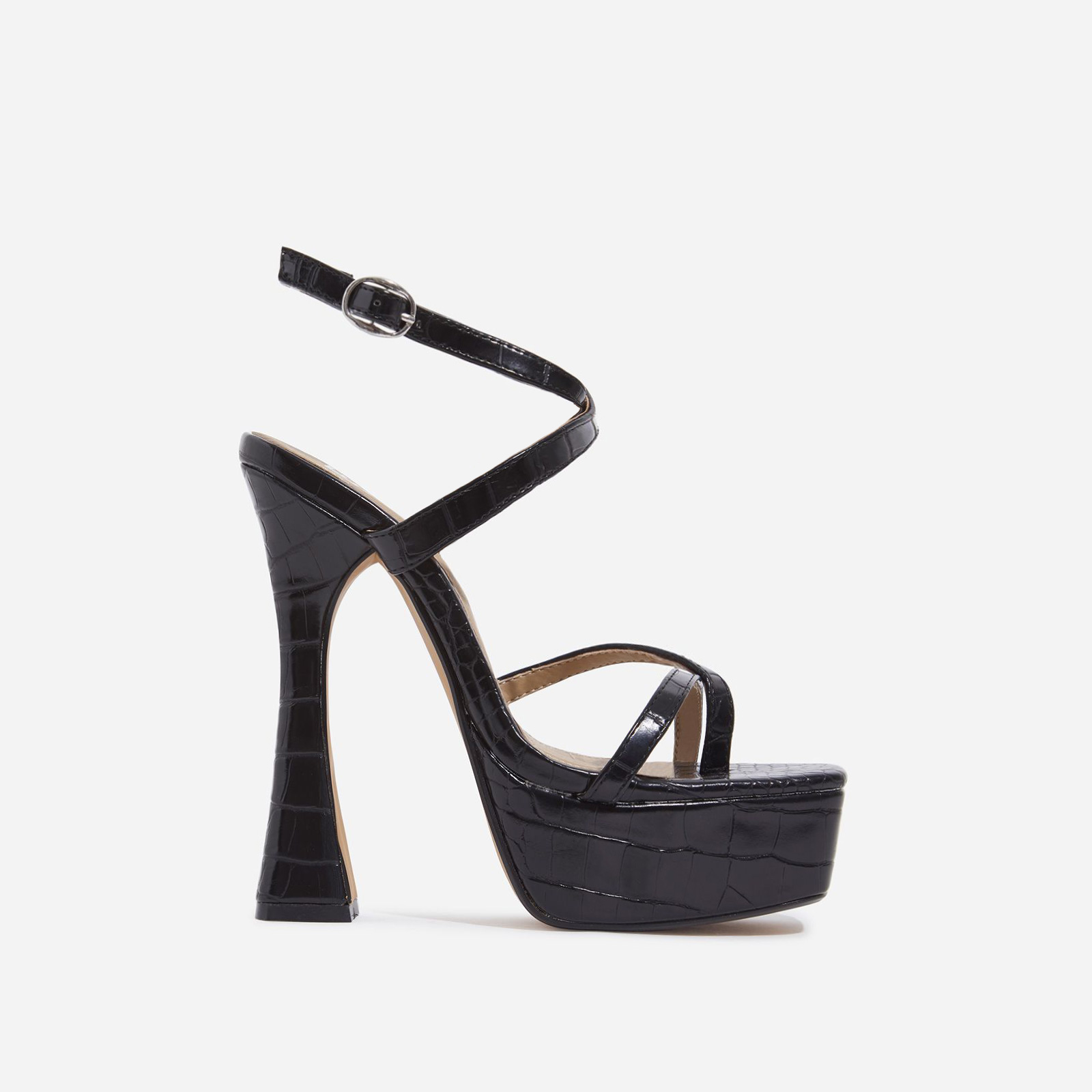 Vox Square Toe Platform Flared Heel In Black Croc Print Faux Leather