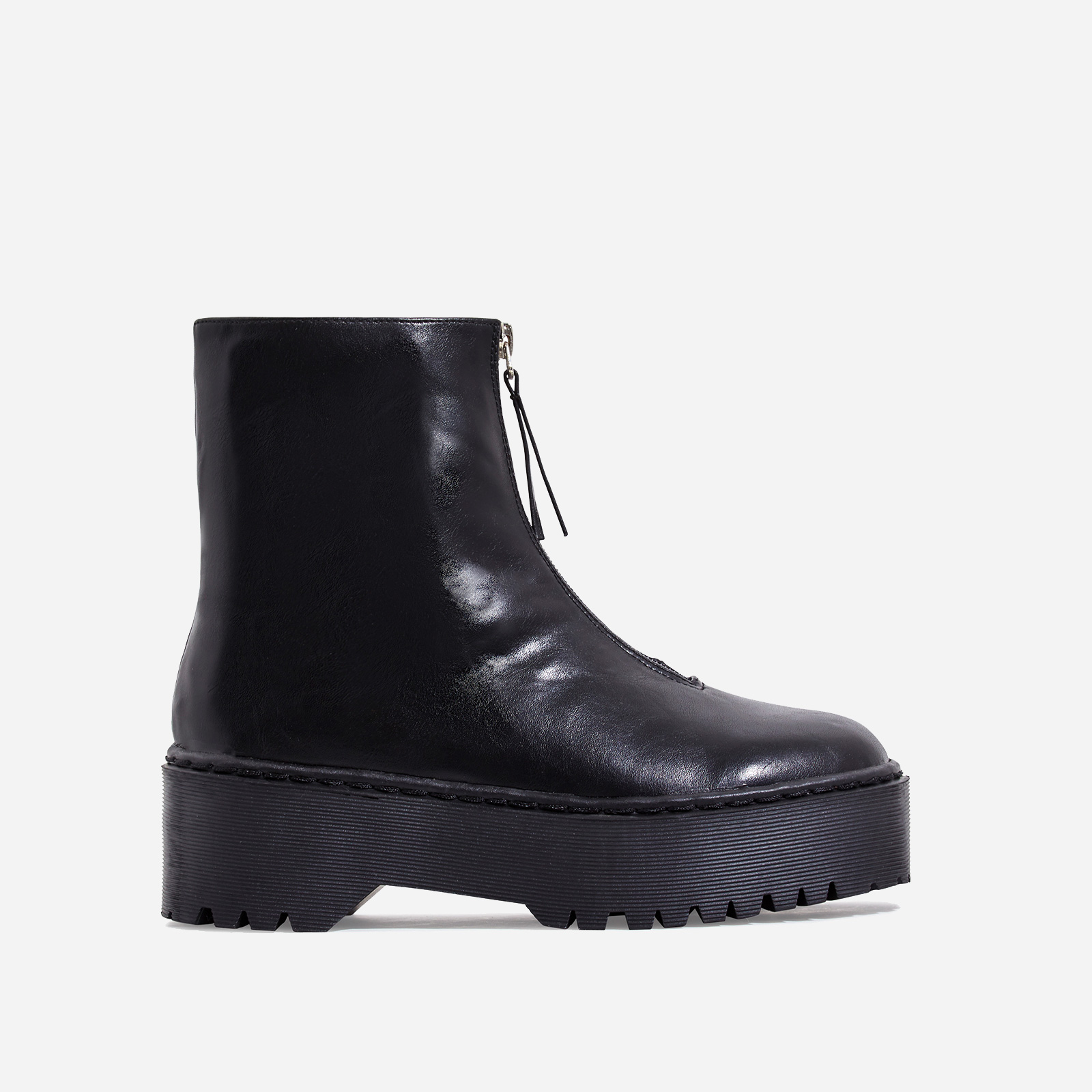 Centre Zip Detail Ankle Biker Boots In Black Faux Leather