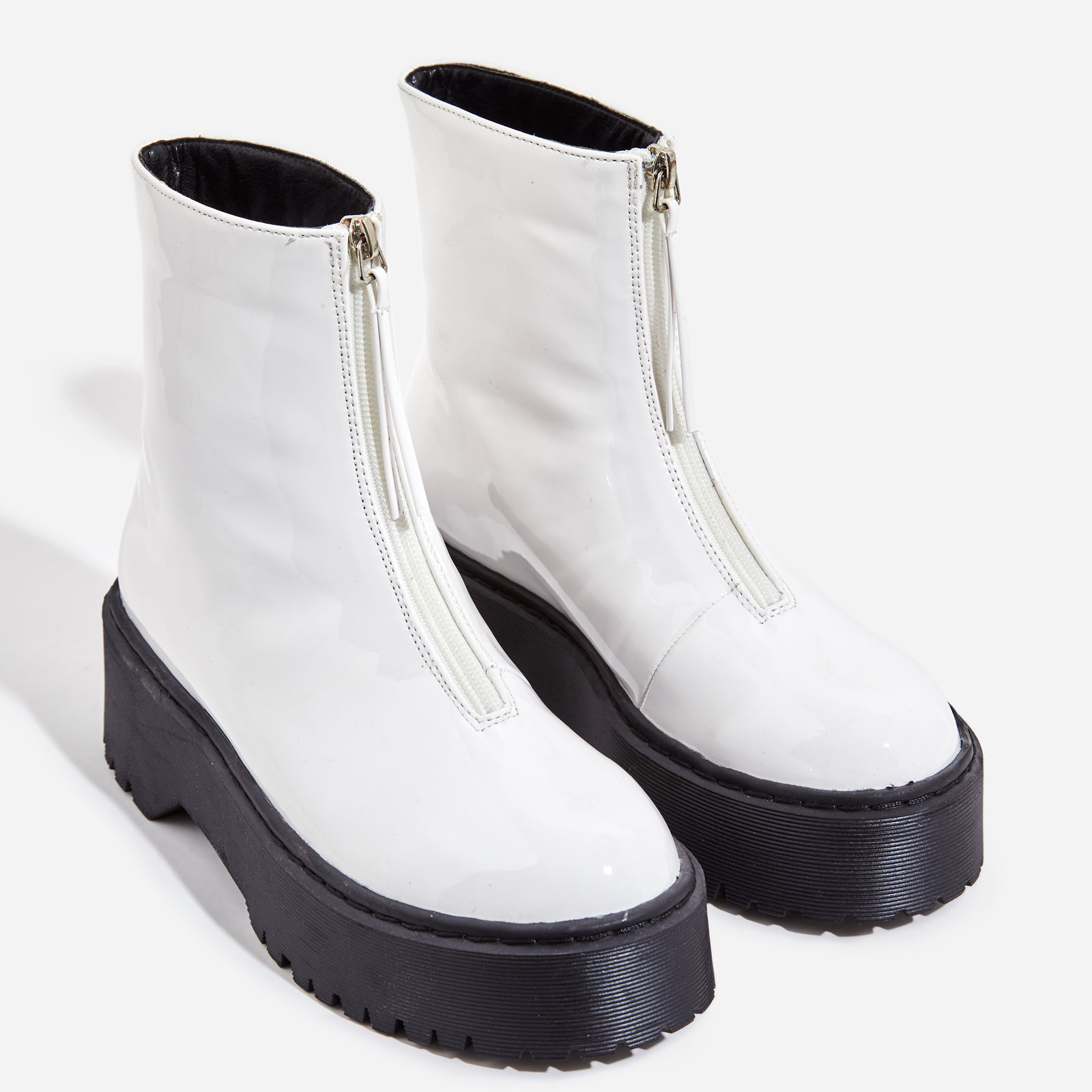 Centre Zip Detail Ankle Biker Boots In White Patent