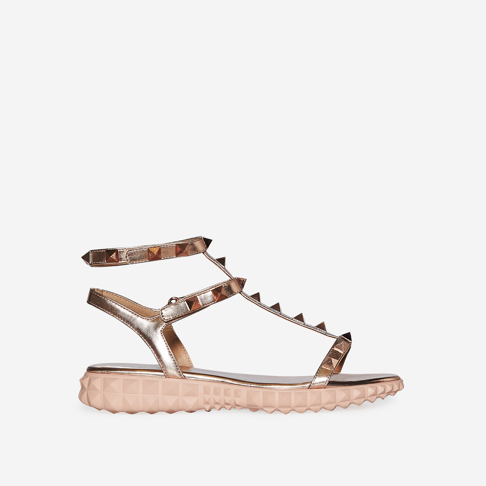 Hydra Studded Detail Gladiator Sandal In Rose Gold Faux Leather