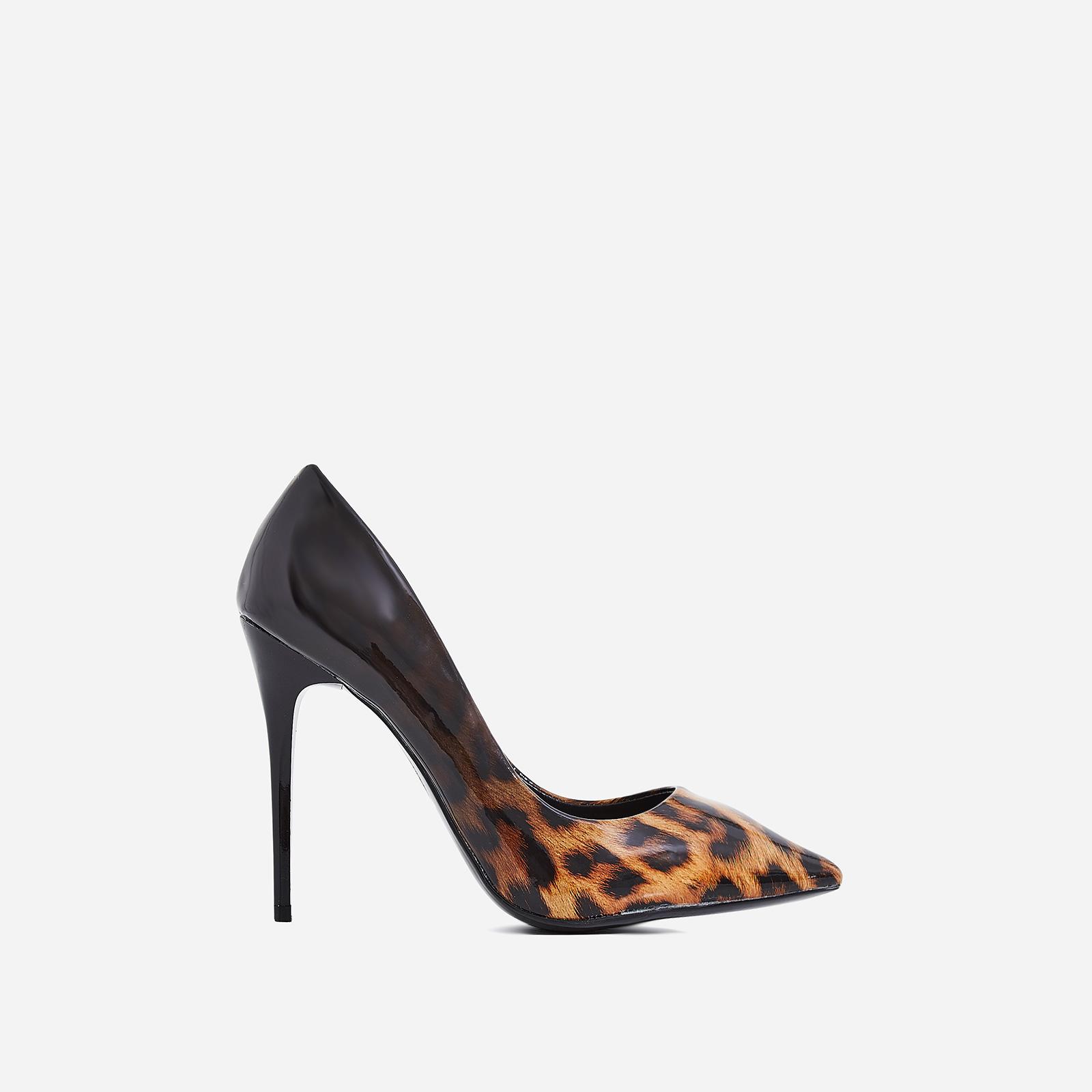 Aleka Court Heel In Tan Leopard Print Patent