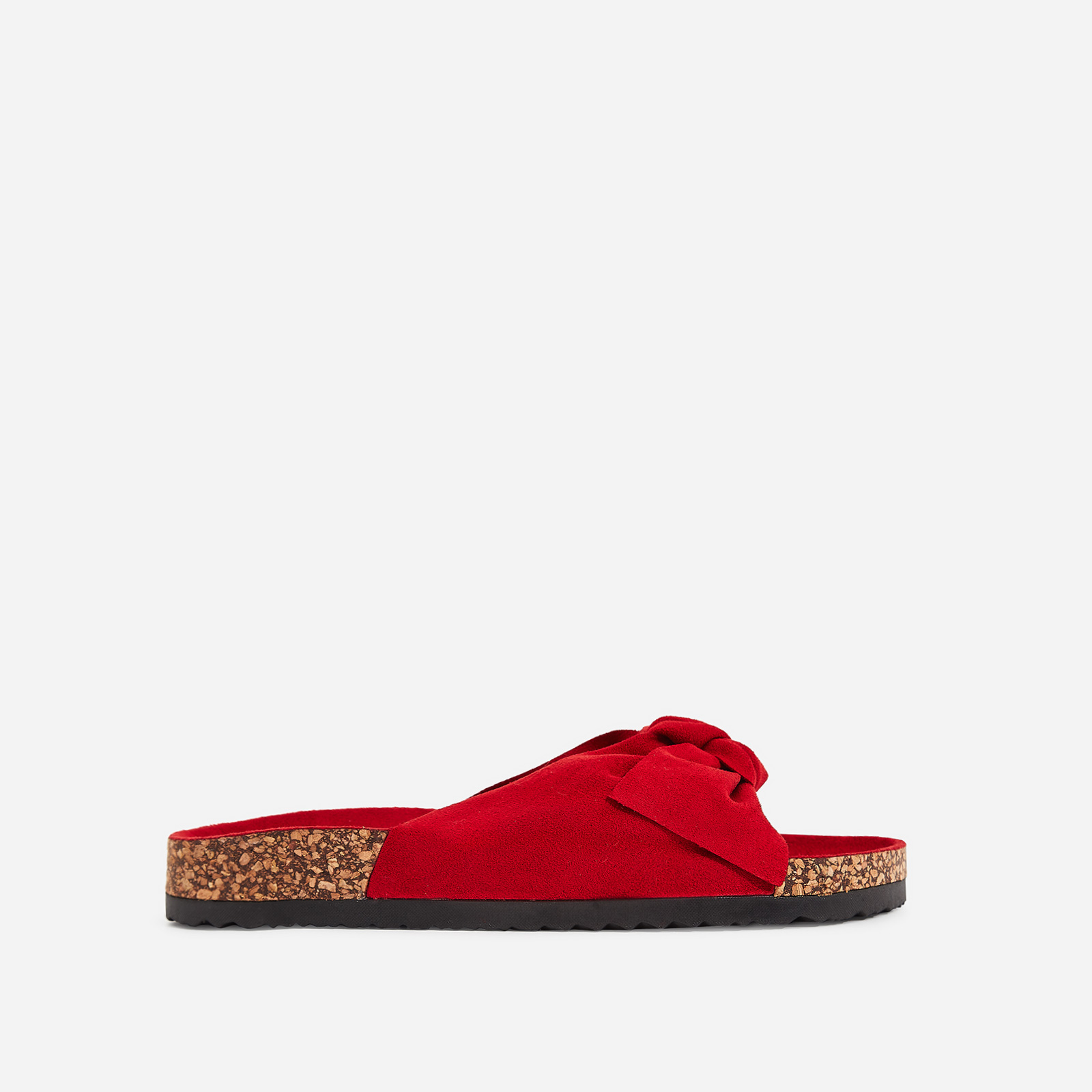 Paula Bow Detail Slider In Lime Red Faux Suede