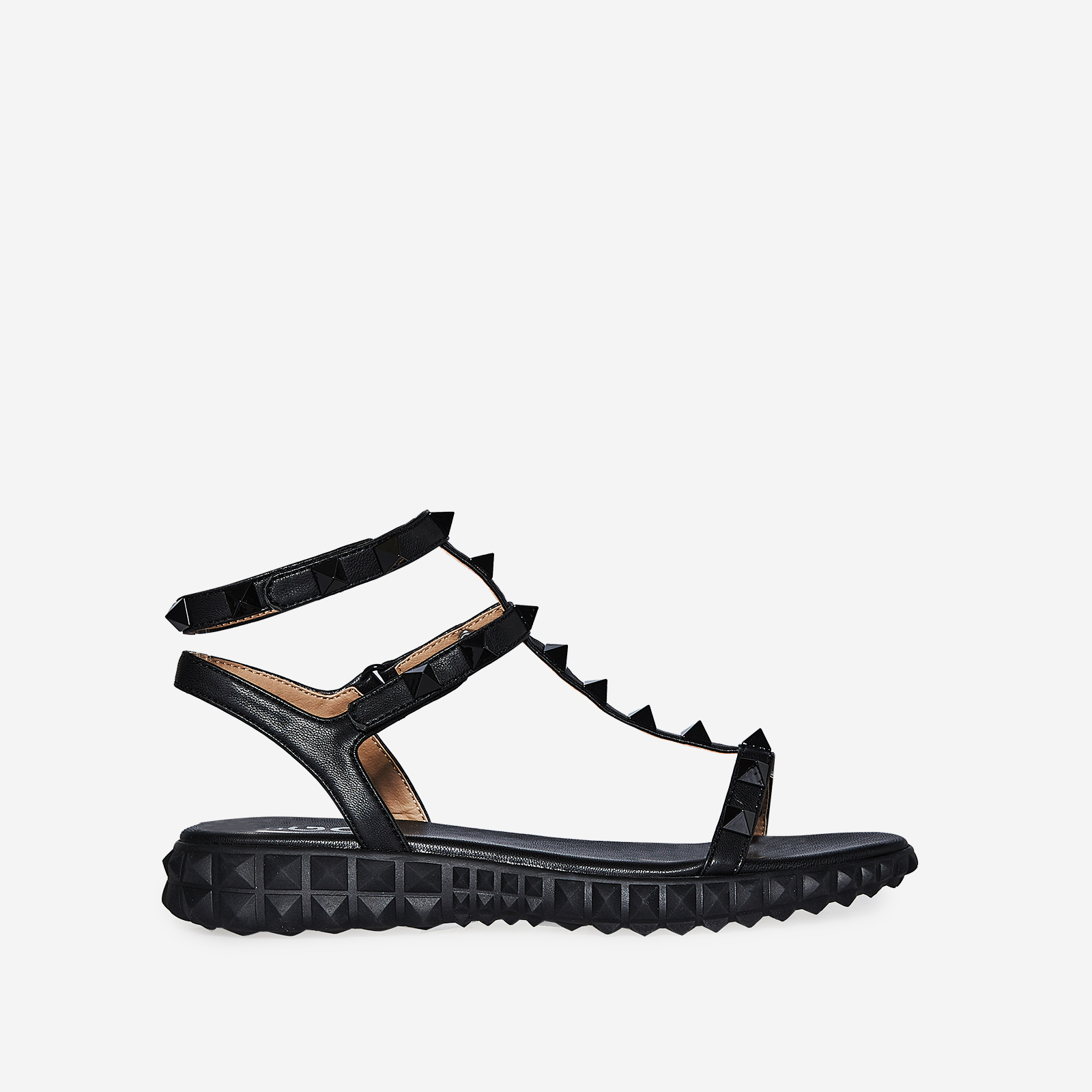 Hydra Studded Detail Gladiator Sandal In Black Faux Leather