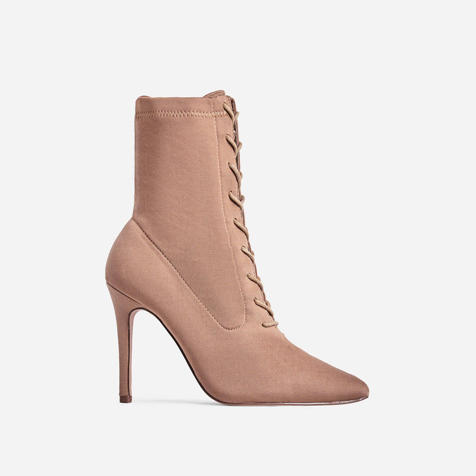 Cosmic Lace Up Ankle Boot In Nude Knit Image 1