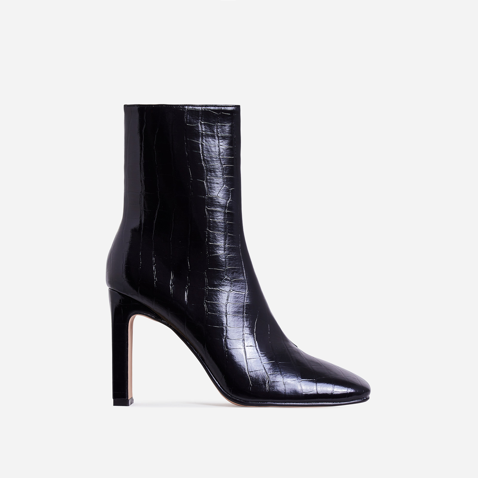 Klass Square Toe Thin Block Heel Ankle Boot In Black Croc Print Faux Leather