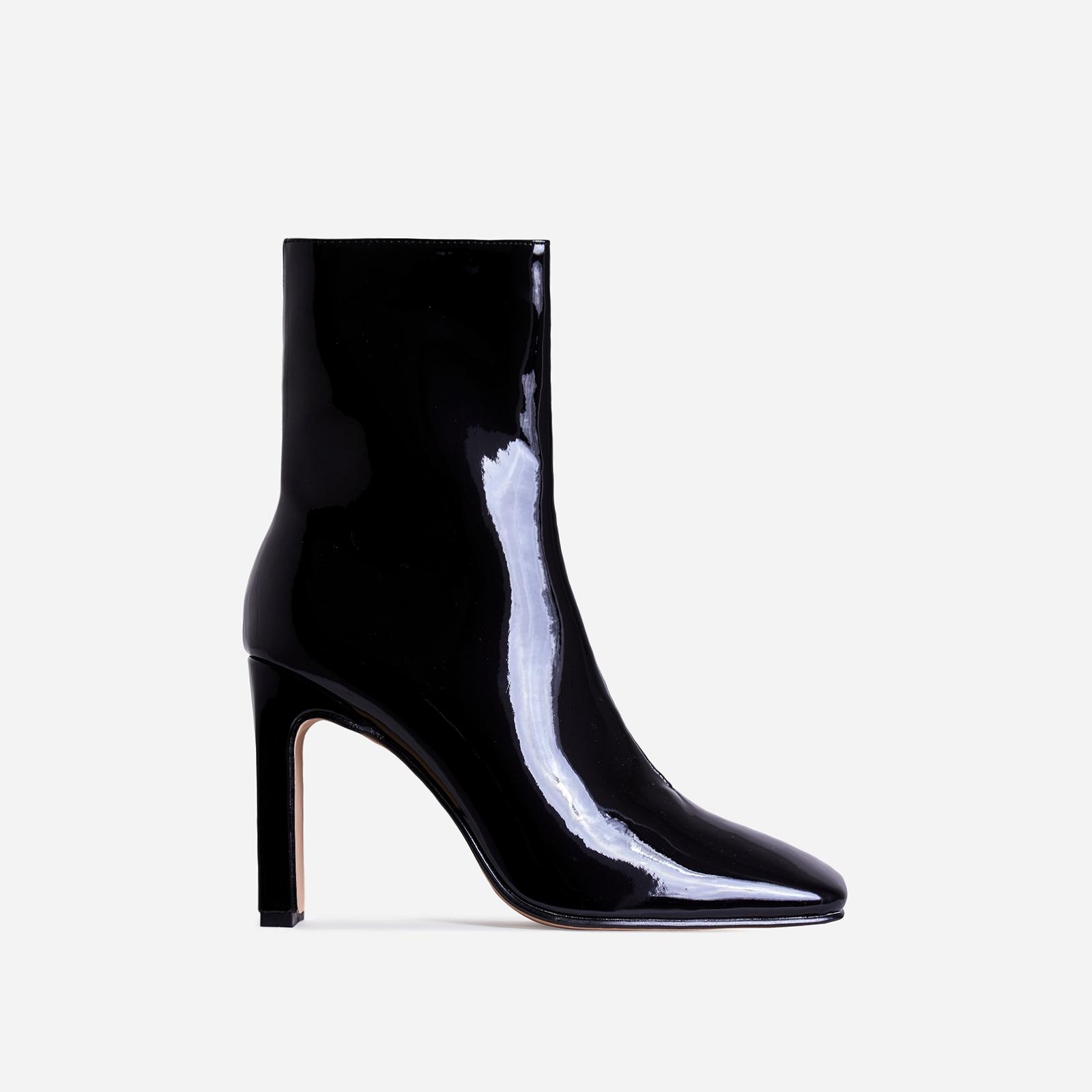 Klass Square Toe Thin Block Heel Ankle Boot In Black Patent