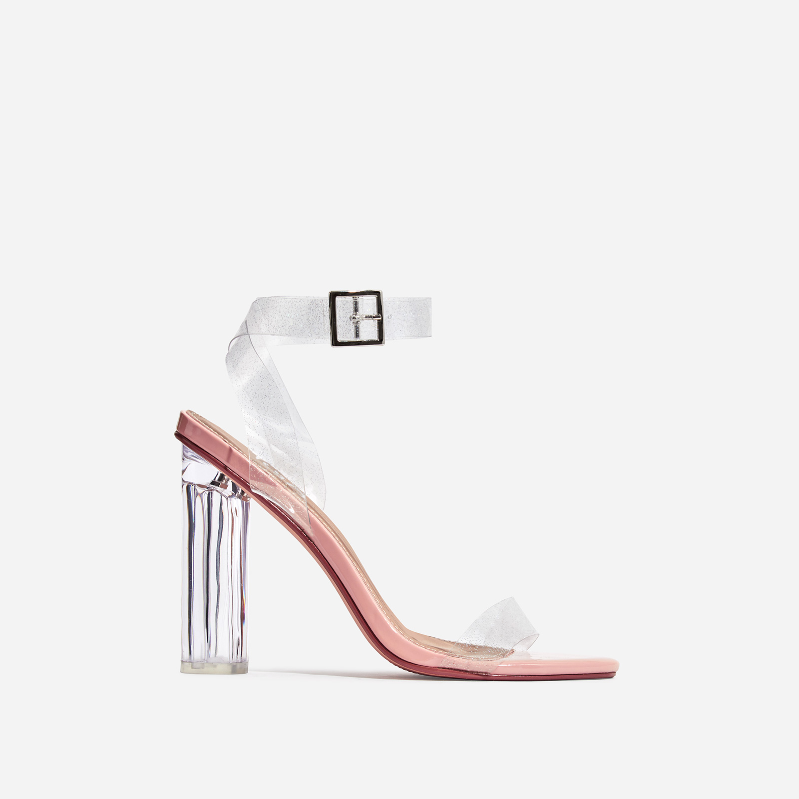Topic Glitter Perspex Barely There Block Heel In Nude Patent