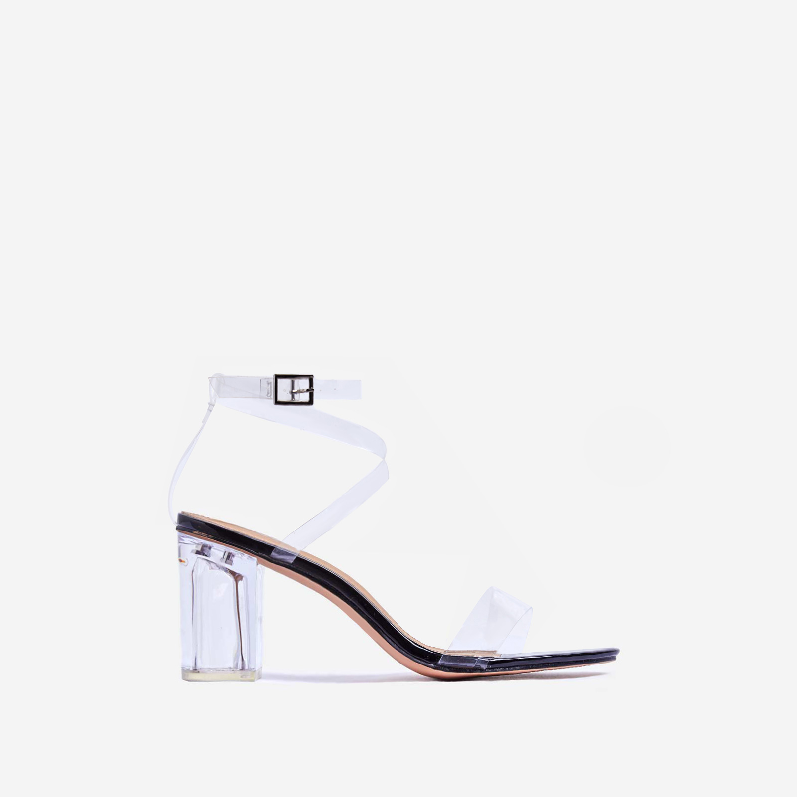 Date Barely There Perspex Midi Block Heel In Black Patent