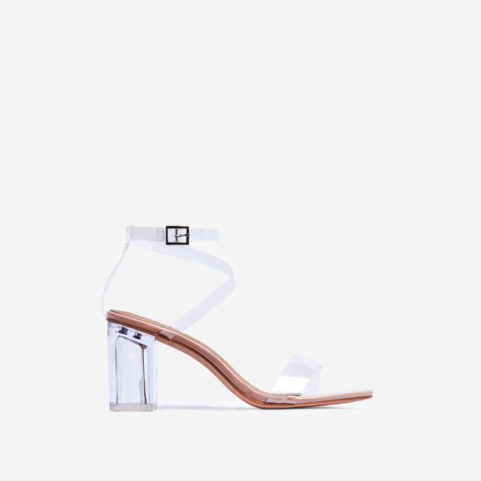 Date Barely There Perspex Midi Block Heel In Nude Patent