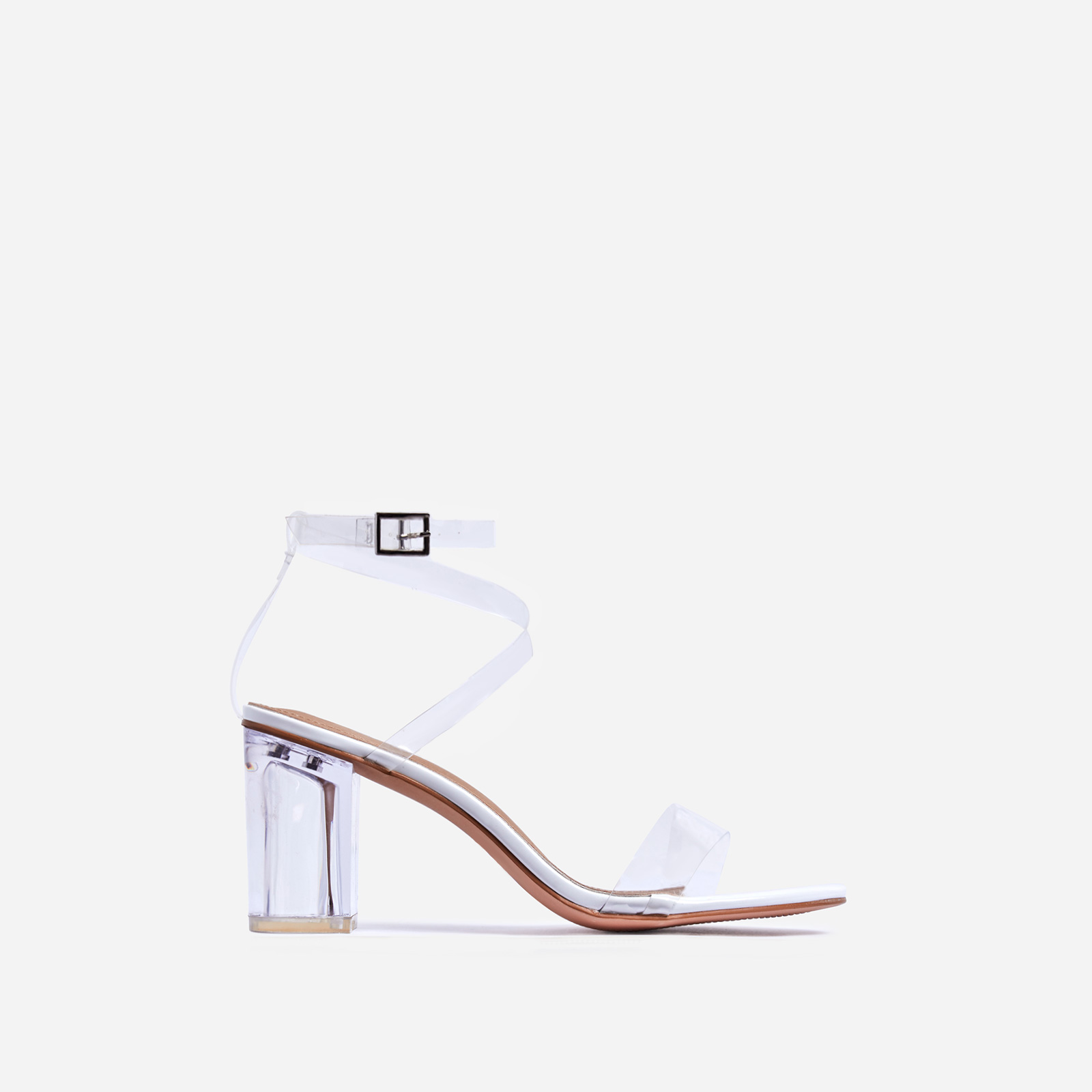 Date Barely There Clear Perspex Midi Block Heel In White Patent