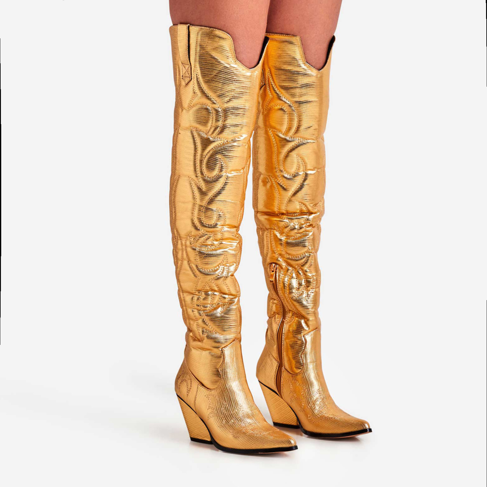 Rodeo Embroidered Over The Knee Thigh High Western Long Boot In Gold Faux Leather